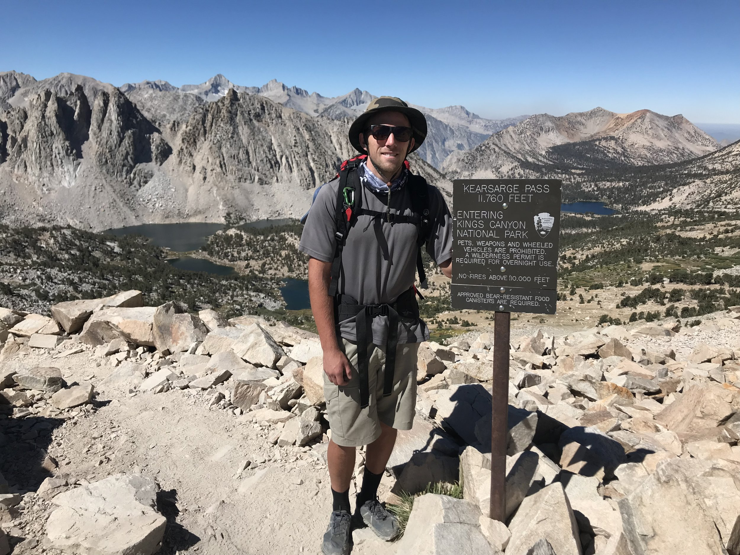 Taken as I passed over Kearsarge Pass for the first time that day. Less smiles the second time around.