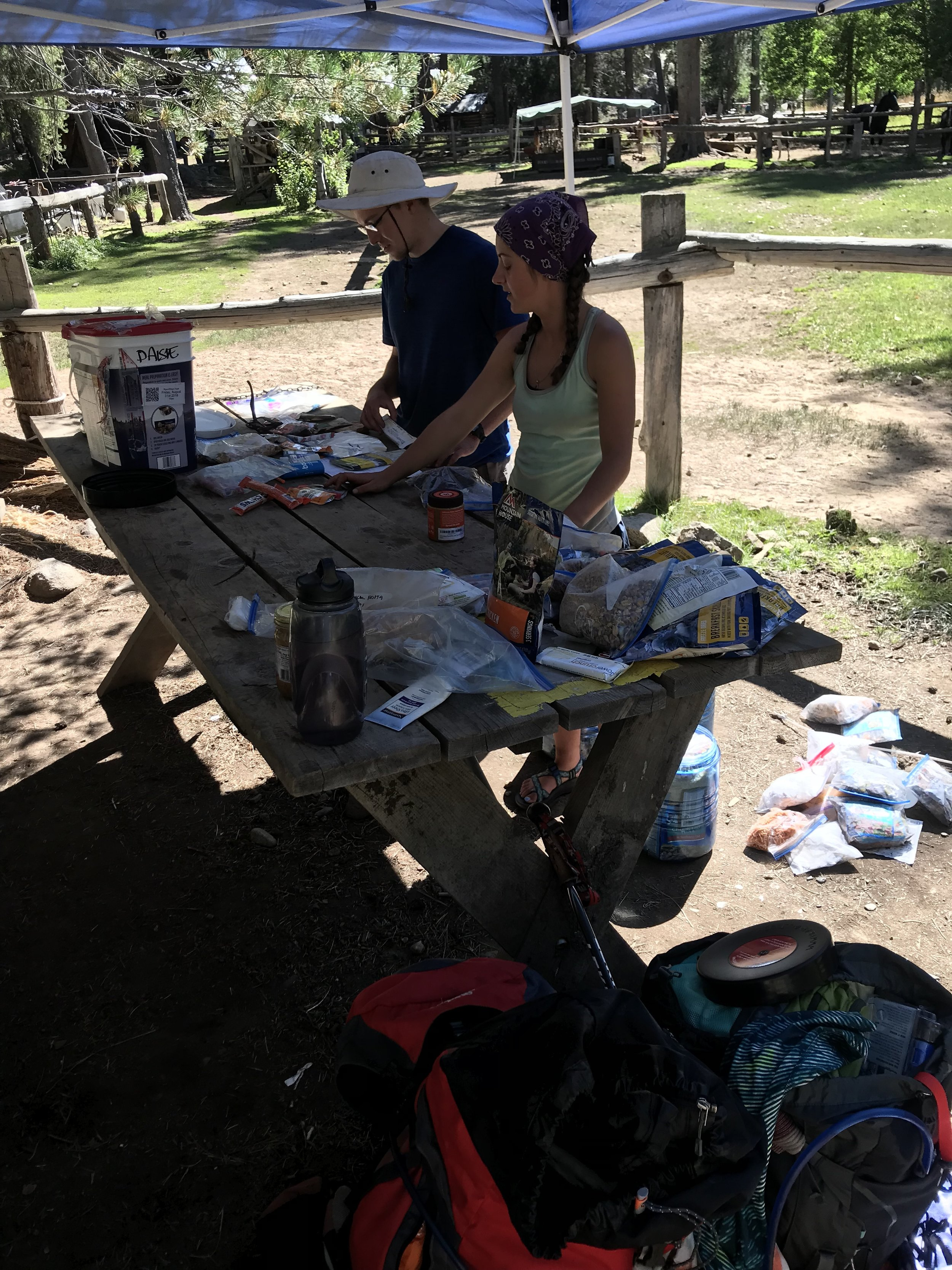 Sorting through a fraction of the food found at Muir Trail Ranch.