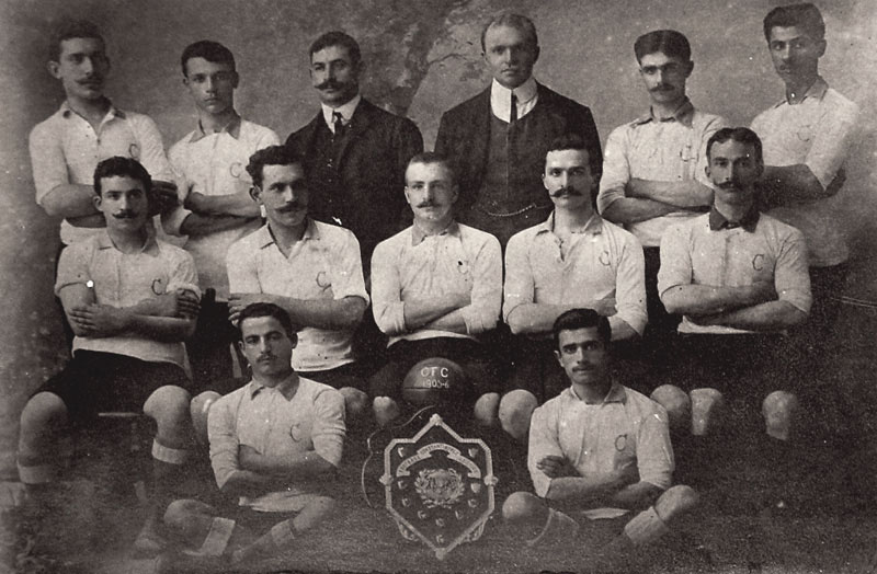 Cadi-keuy Football Club (1906). Fuat 'Bobby' Husnu on middle row, far right.  (Photo courtesy of  Levantine Heritage ).