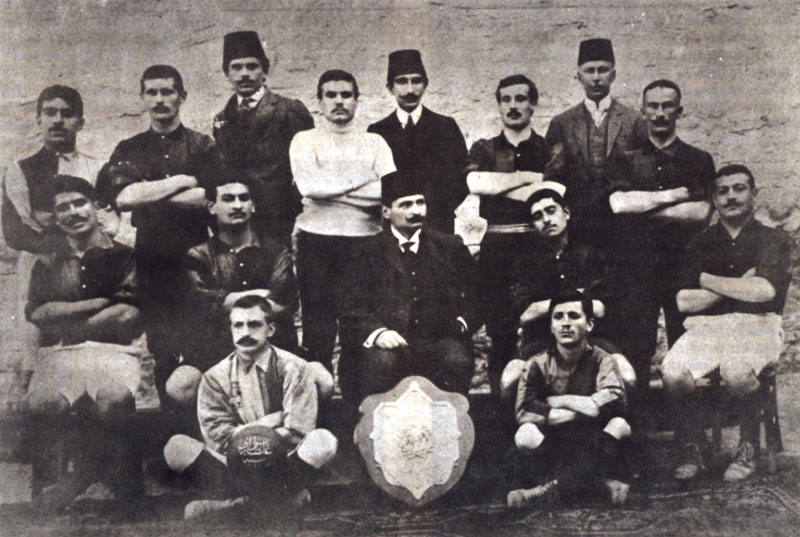 Galatasaray with their first championship shield in 1909. Fuat Husnu pictured standing, far right. Ali Sami Yen pictured standing, third from the left. (Photo courtesy of  Levantine Heritage ).