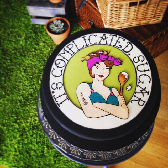 Lovin the logo cake by @itscomplicatedsugar #altwedfair #cake #artist