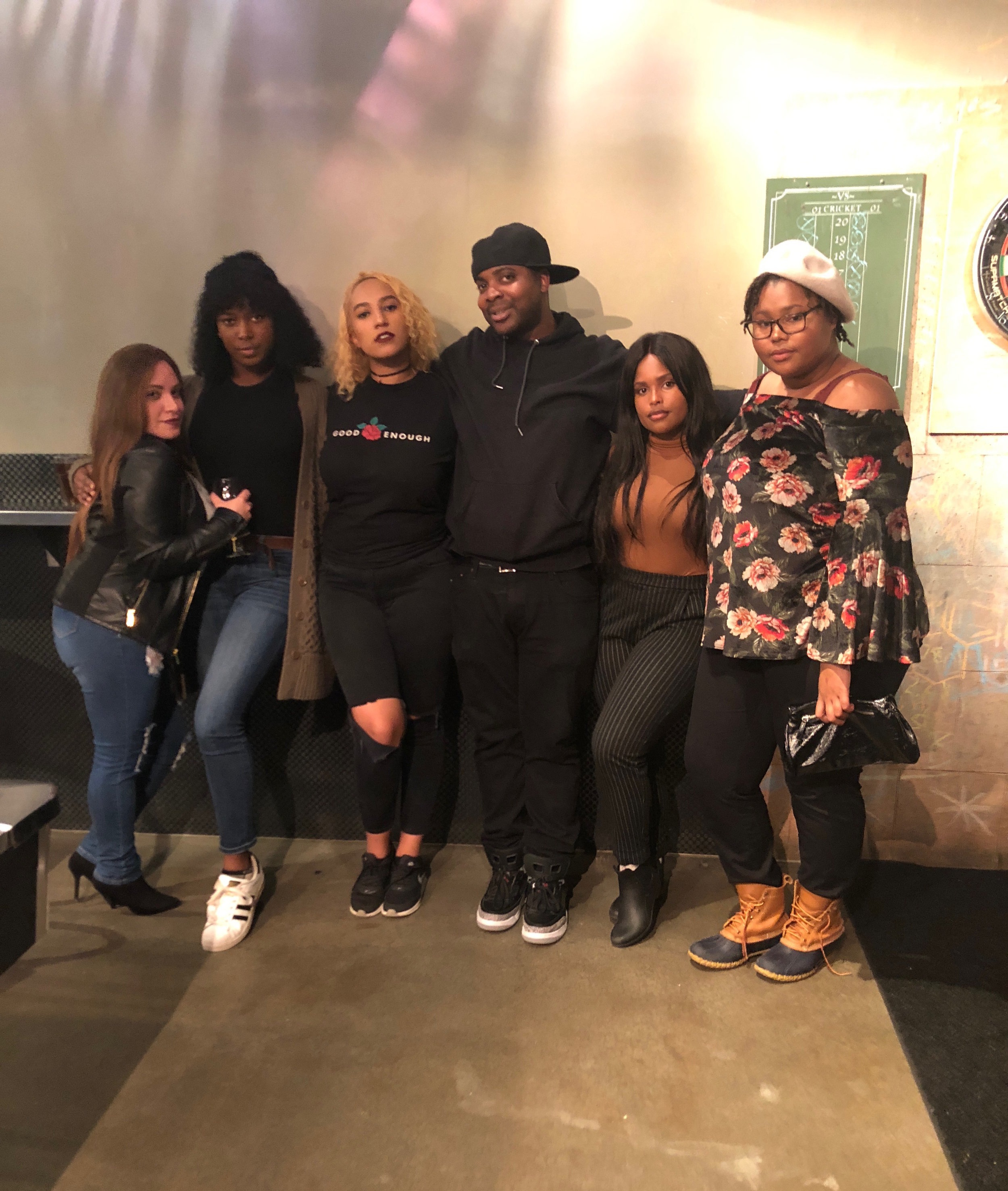 The performers from the fall 2018 Comedy in Color show. From left to right: Shari Diaz, Kevyn Robinson, Noni Shemenski, Matt White, Tyla Gomez and Victoria Quiett