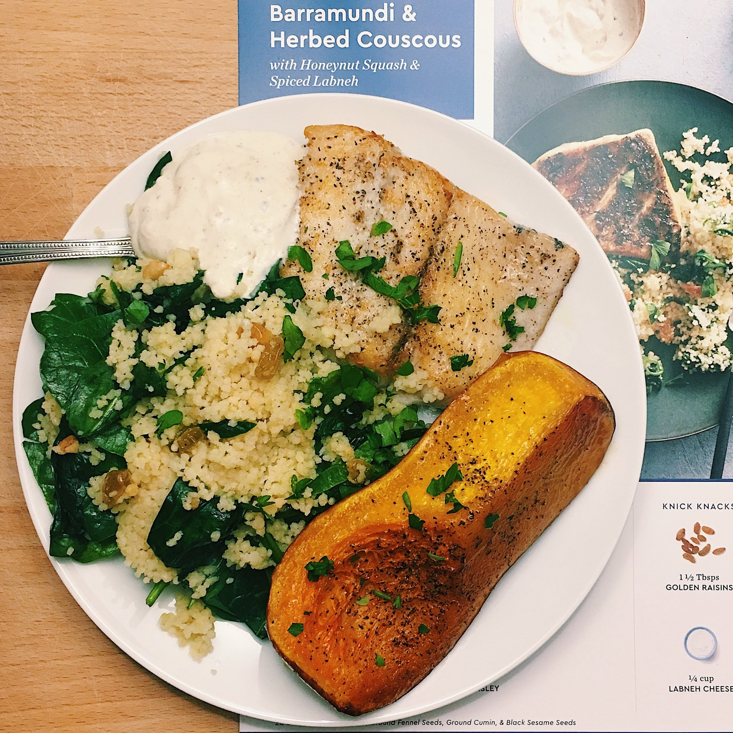 Barramundi and Herbed Couscous with Honeynut Squash