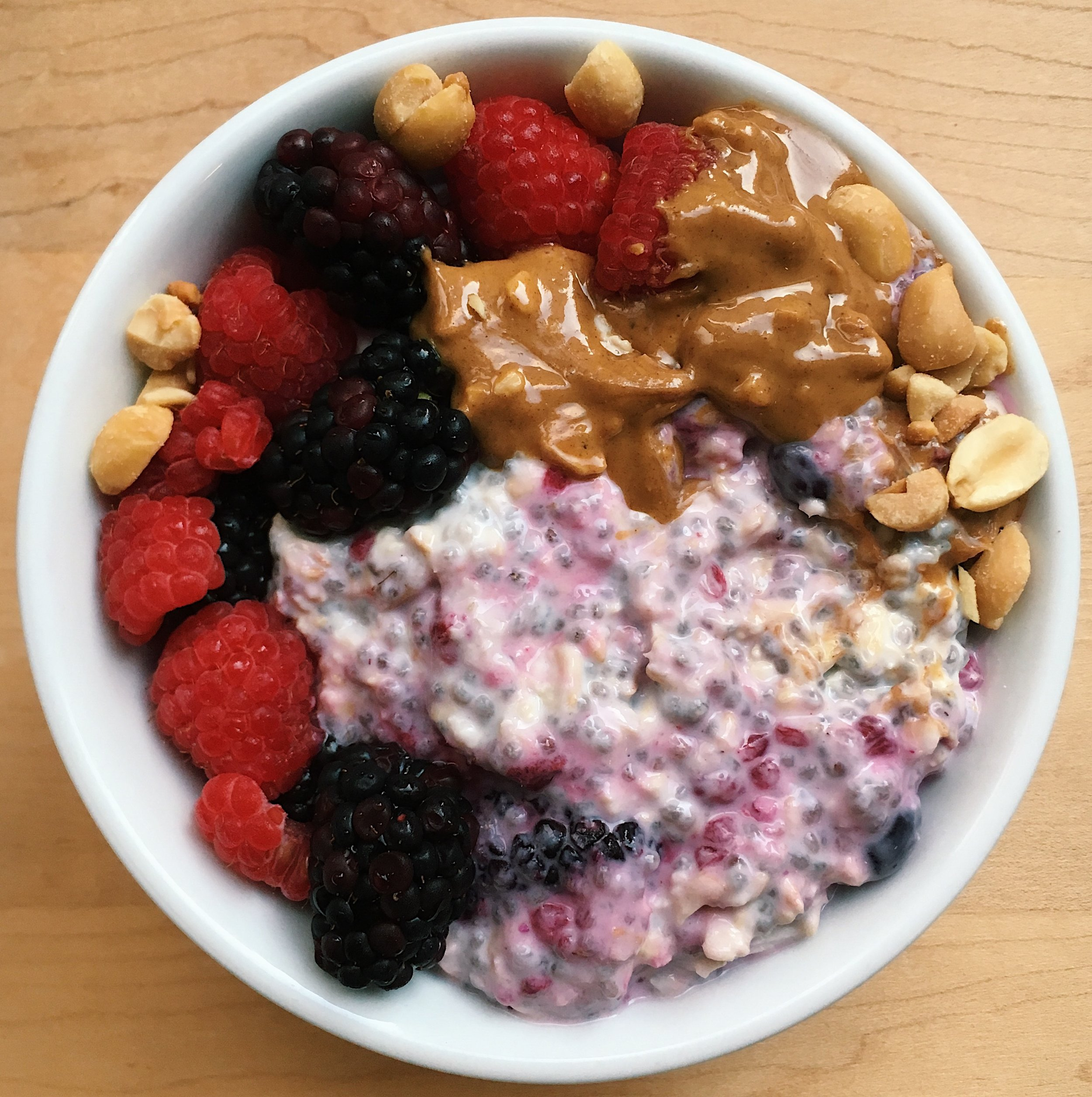 I added some fresh berries and crushed peanuts on top for aesthetics, but the recipe tastes just as good using all frozen berries and peanut butter.