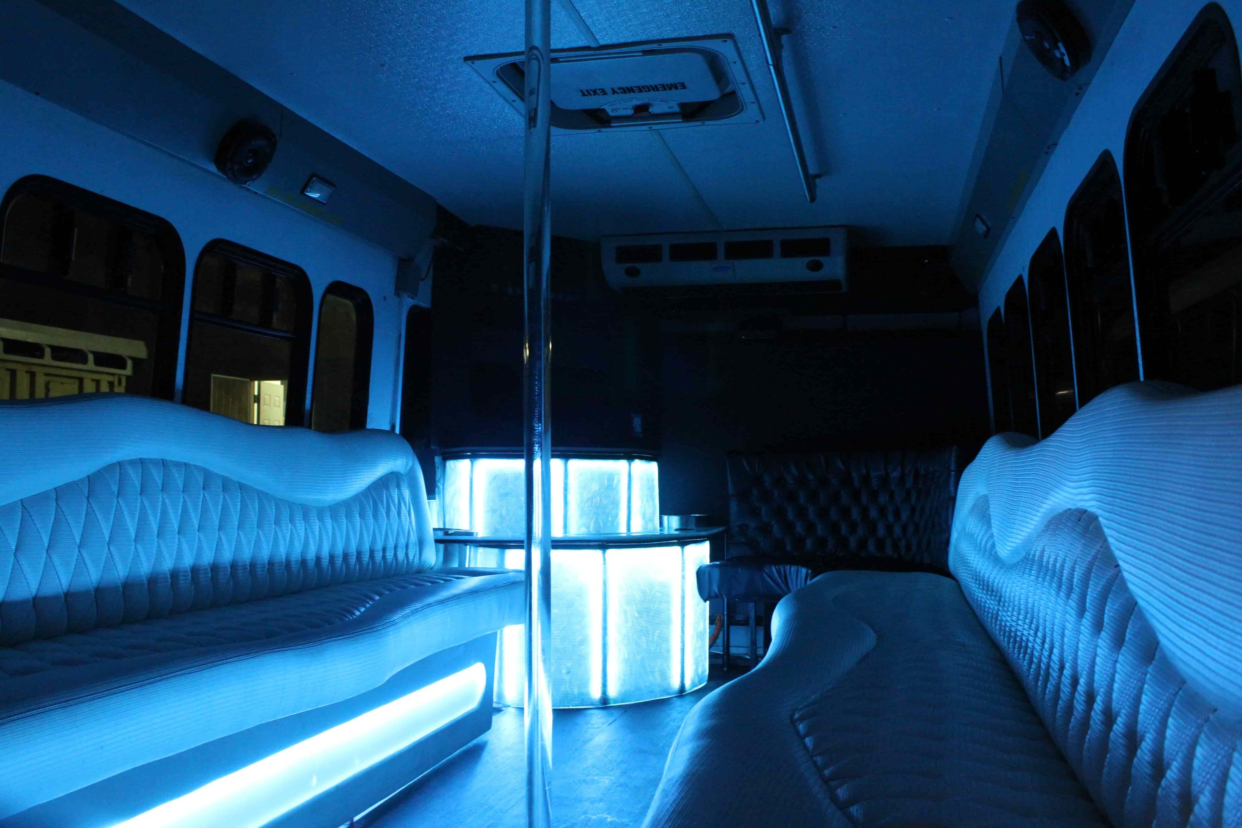 Low Angle Interior Shot with Blue Lights illuminating Environment