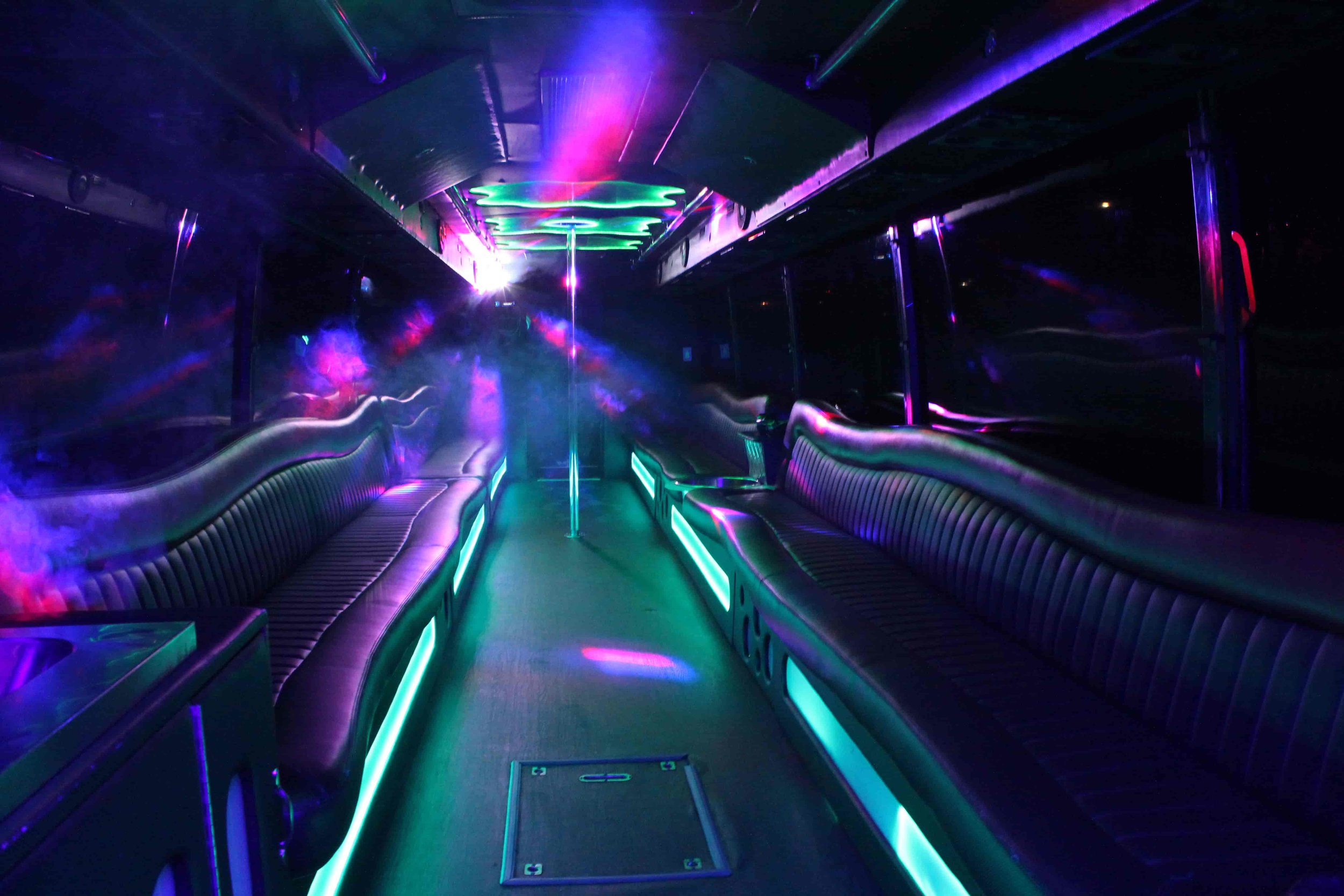 Patriot Limo Bus with a fog machine and laser lights