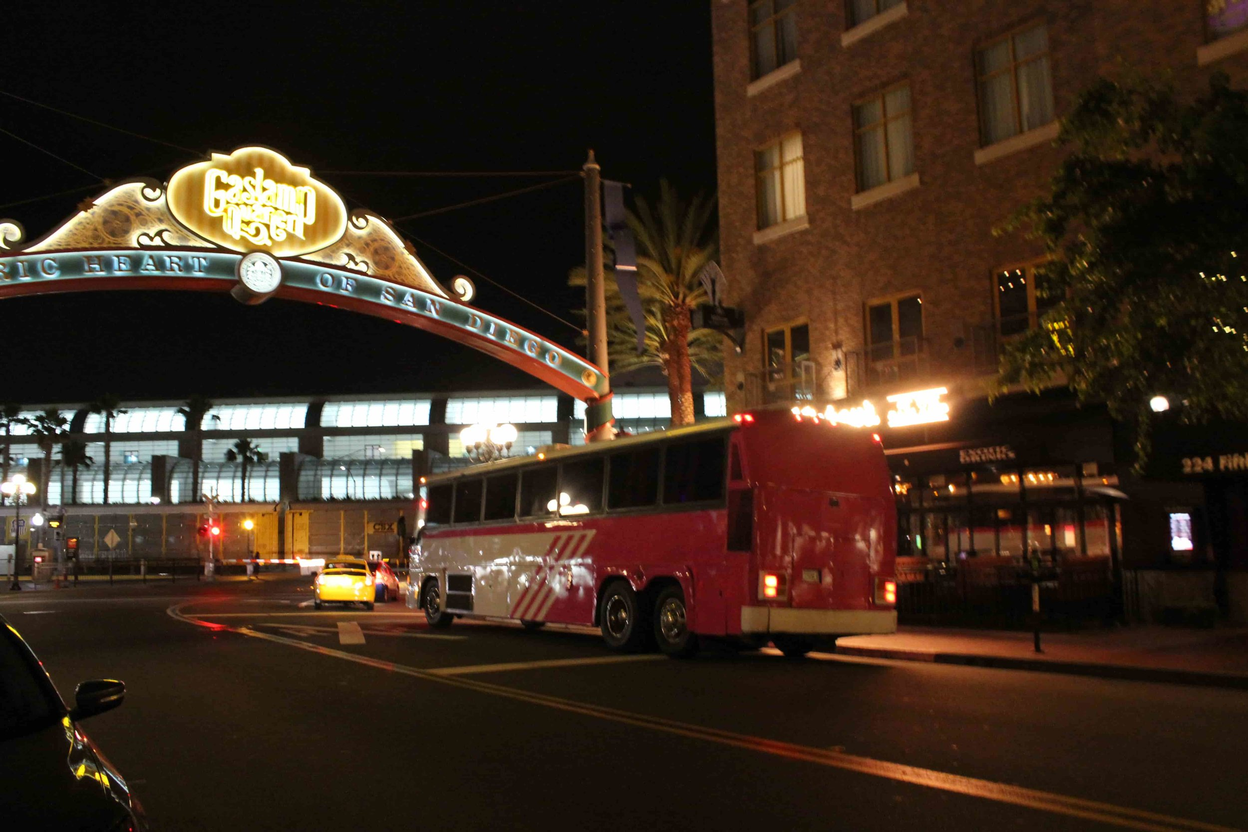 Pinkie Party Bus Under the Famous Gaslamp overhead Sign