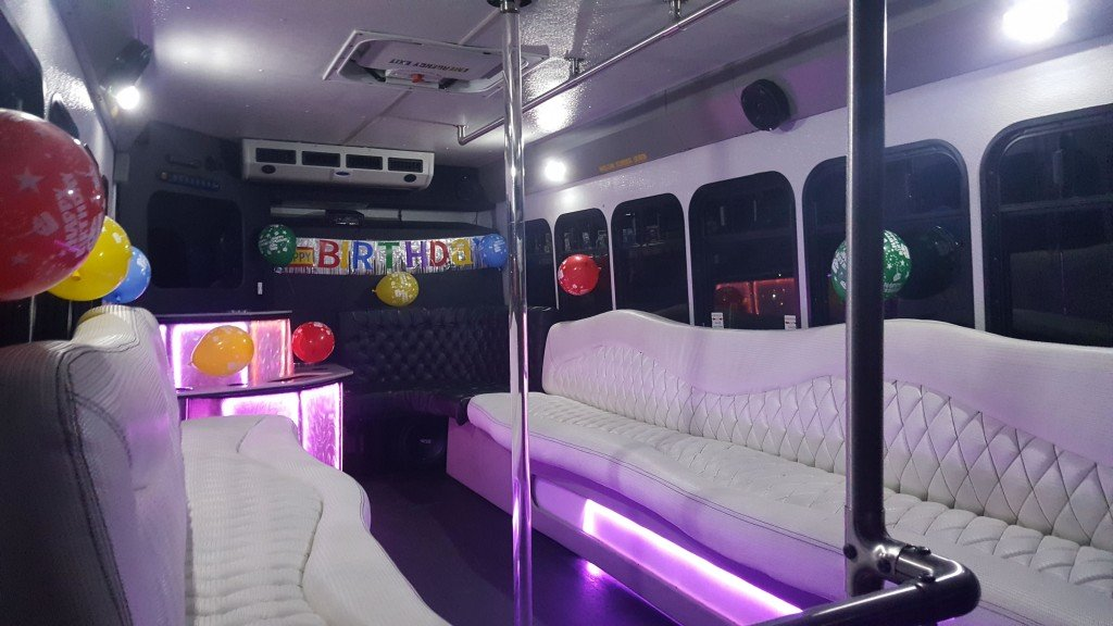 Birthday Decorations on White Party Bus