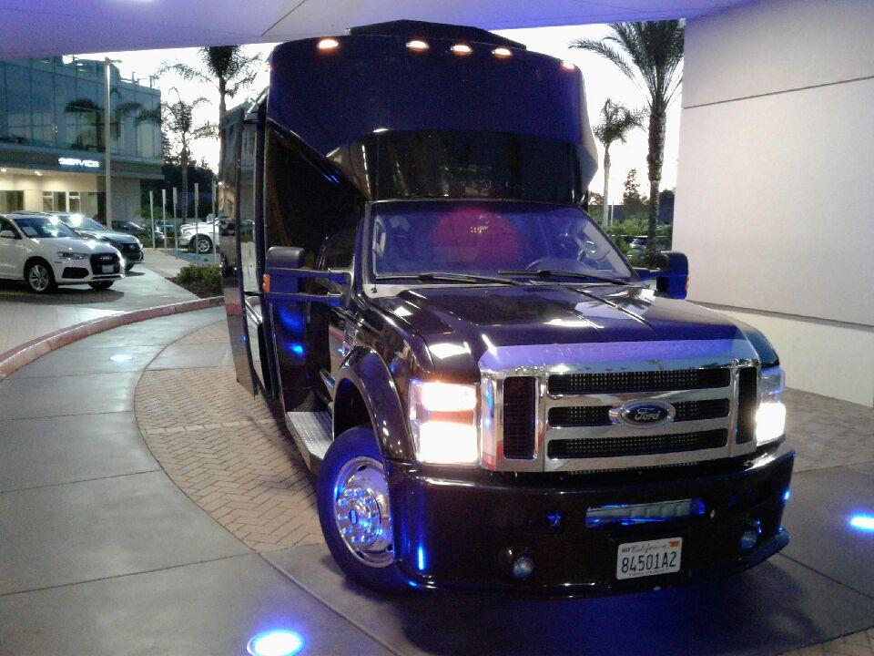Exterior Party Bus Picture of Limo Bus Service in Rancho Santa Fe for your Anniversary to Heritage County Park or Annie's Canyon Trail with your Family and other Kids
