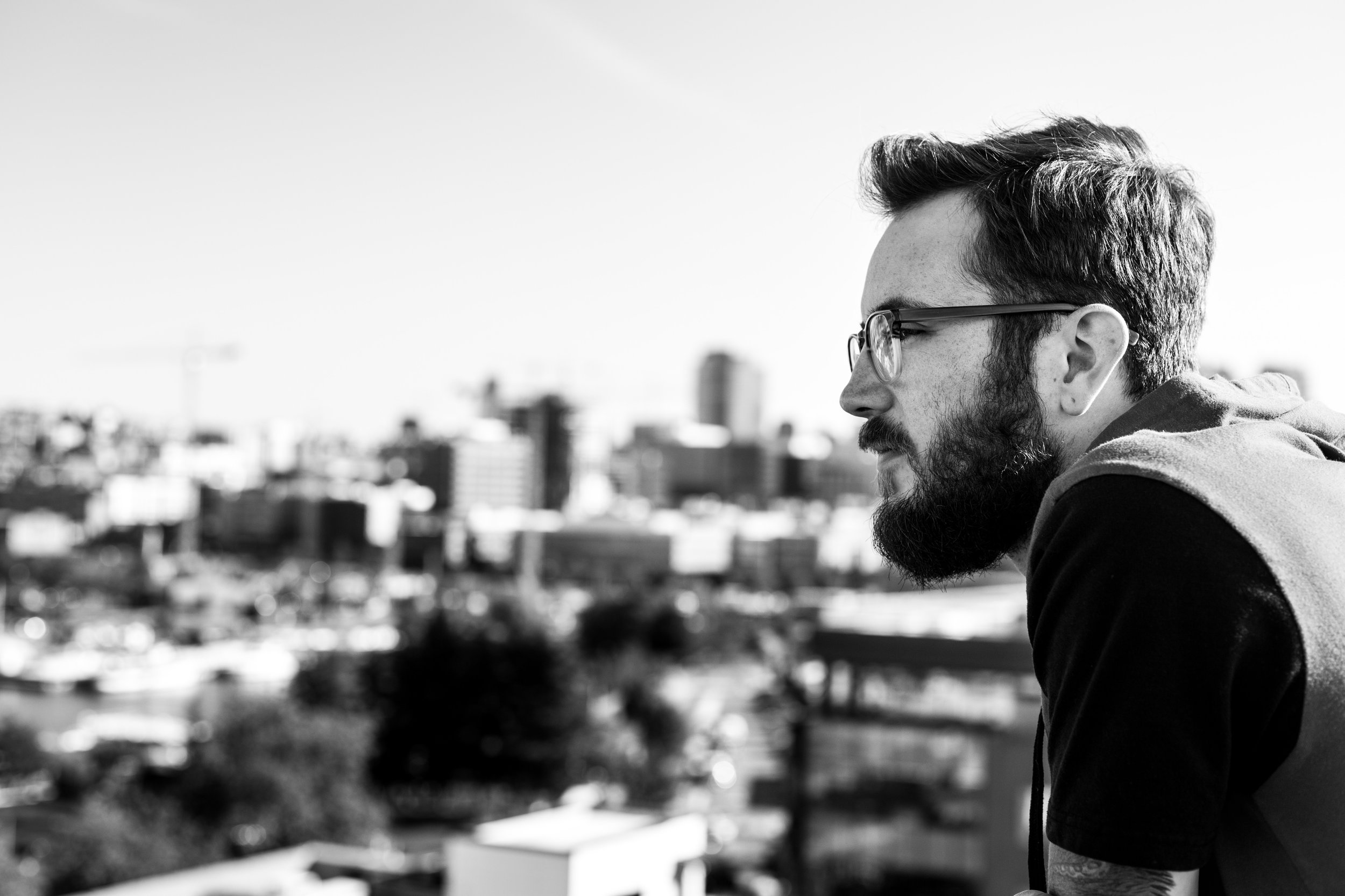 Trevor overlooking Lake Union from our apartment's rooftop.
