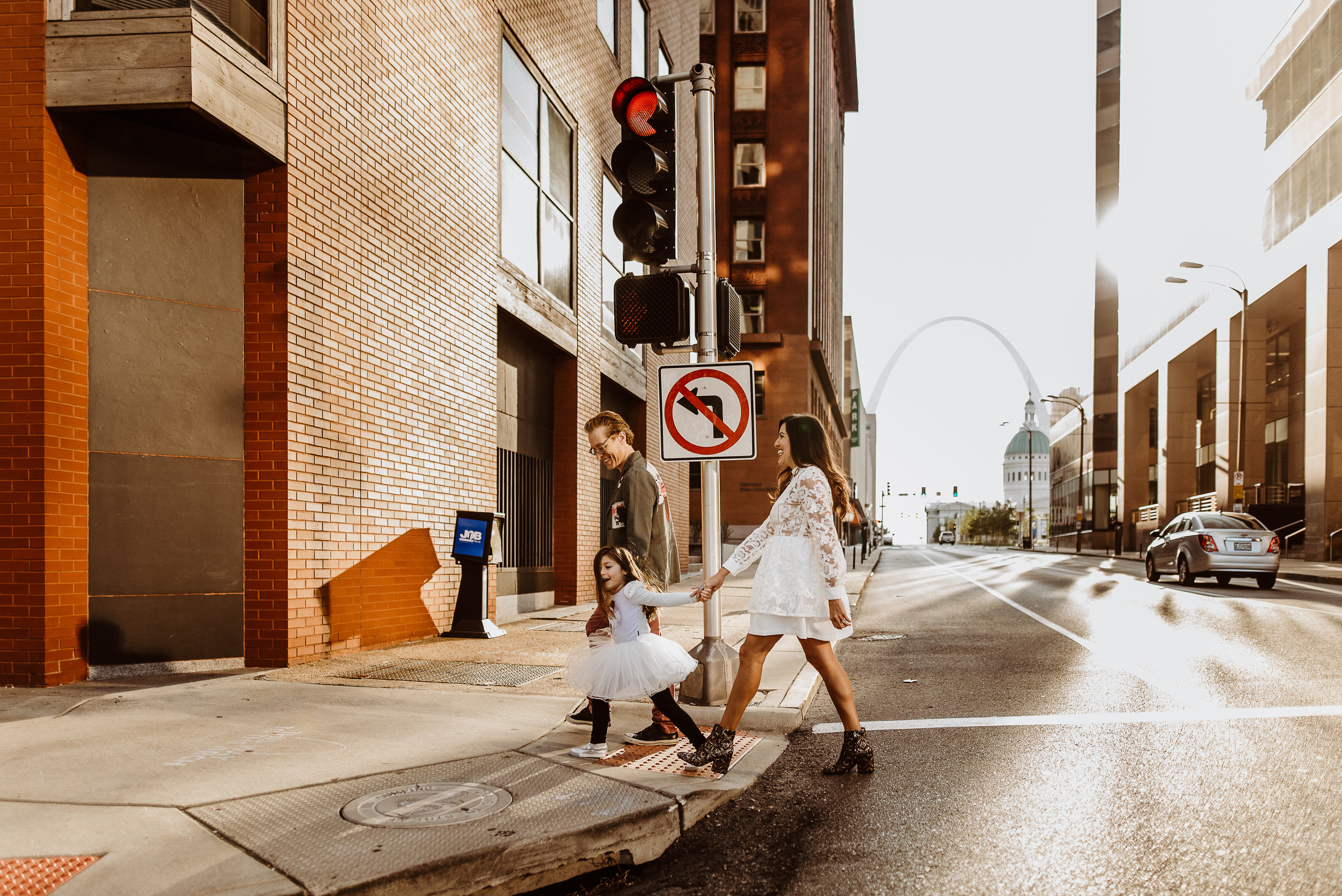walking in downtown St. Louis
