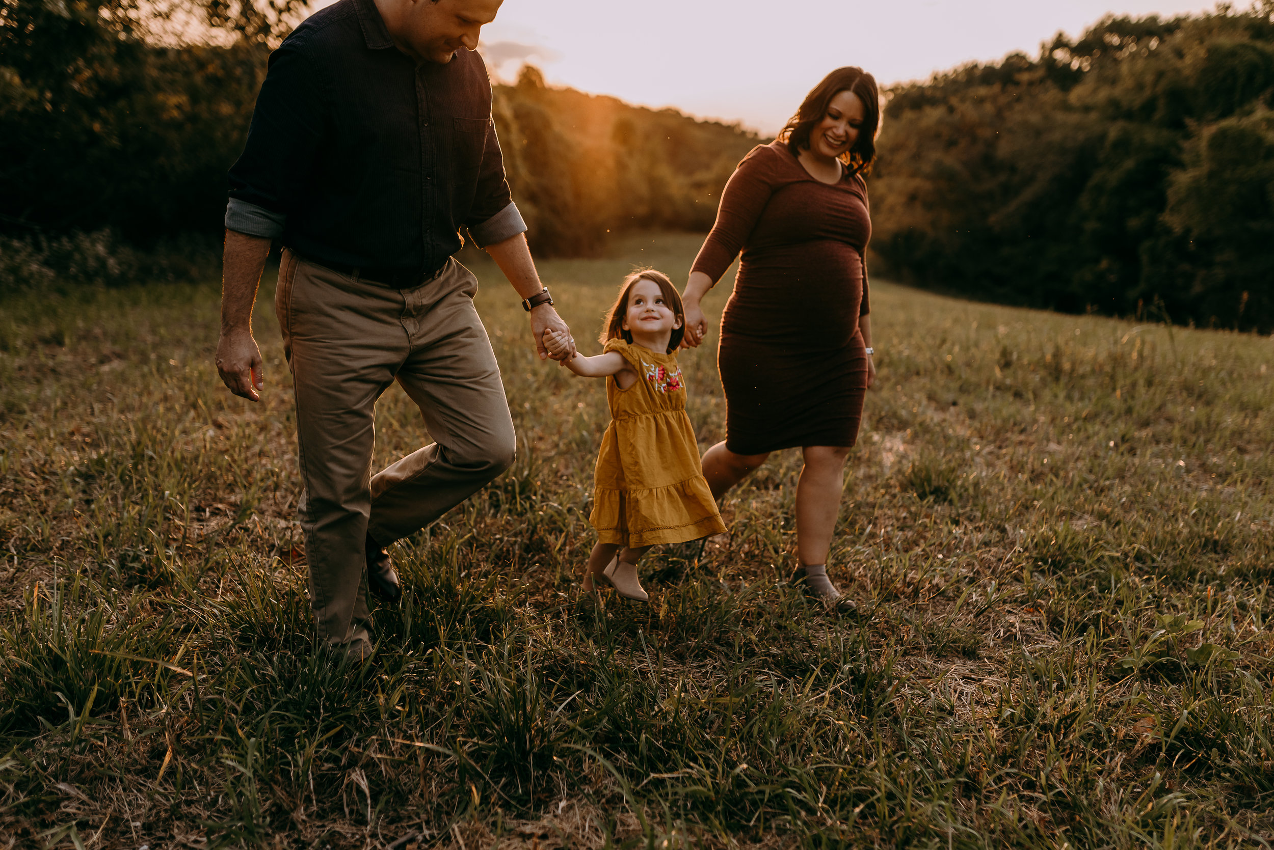 maternity family session at sunset