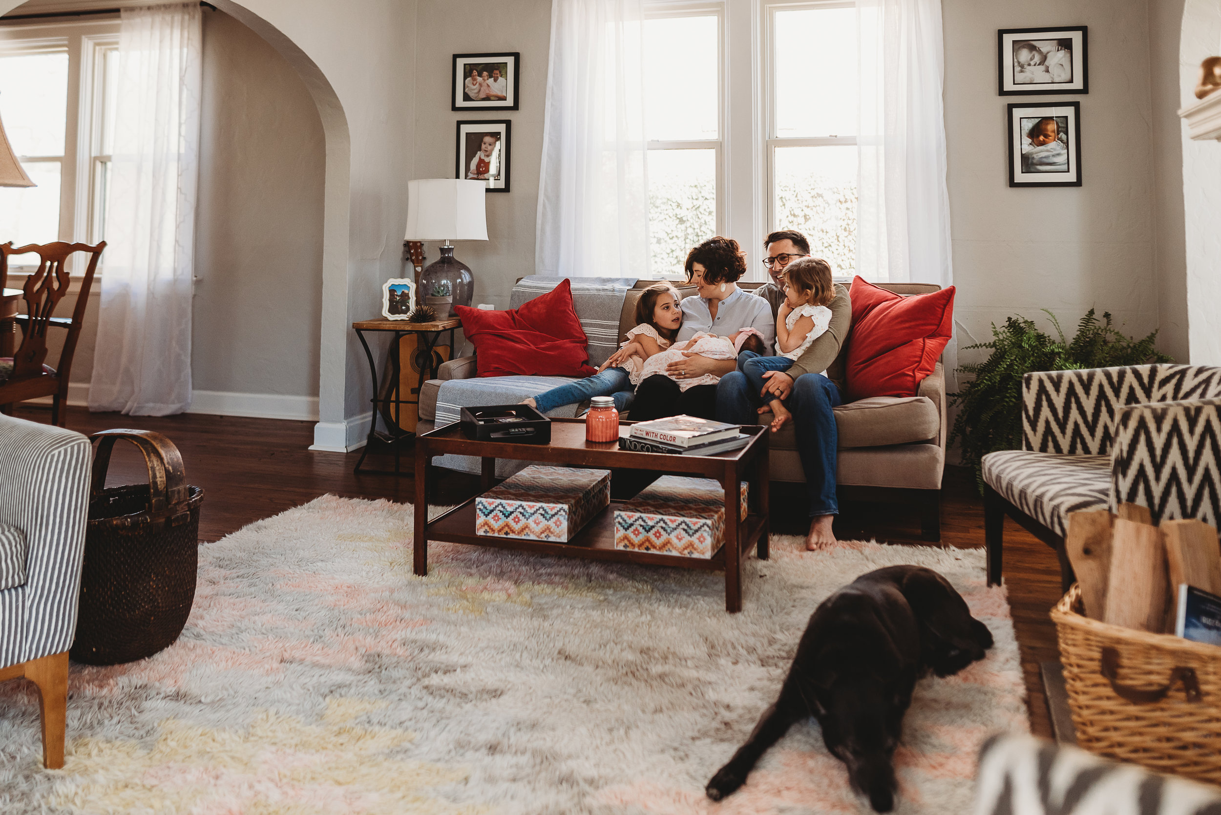 family in living area