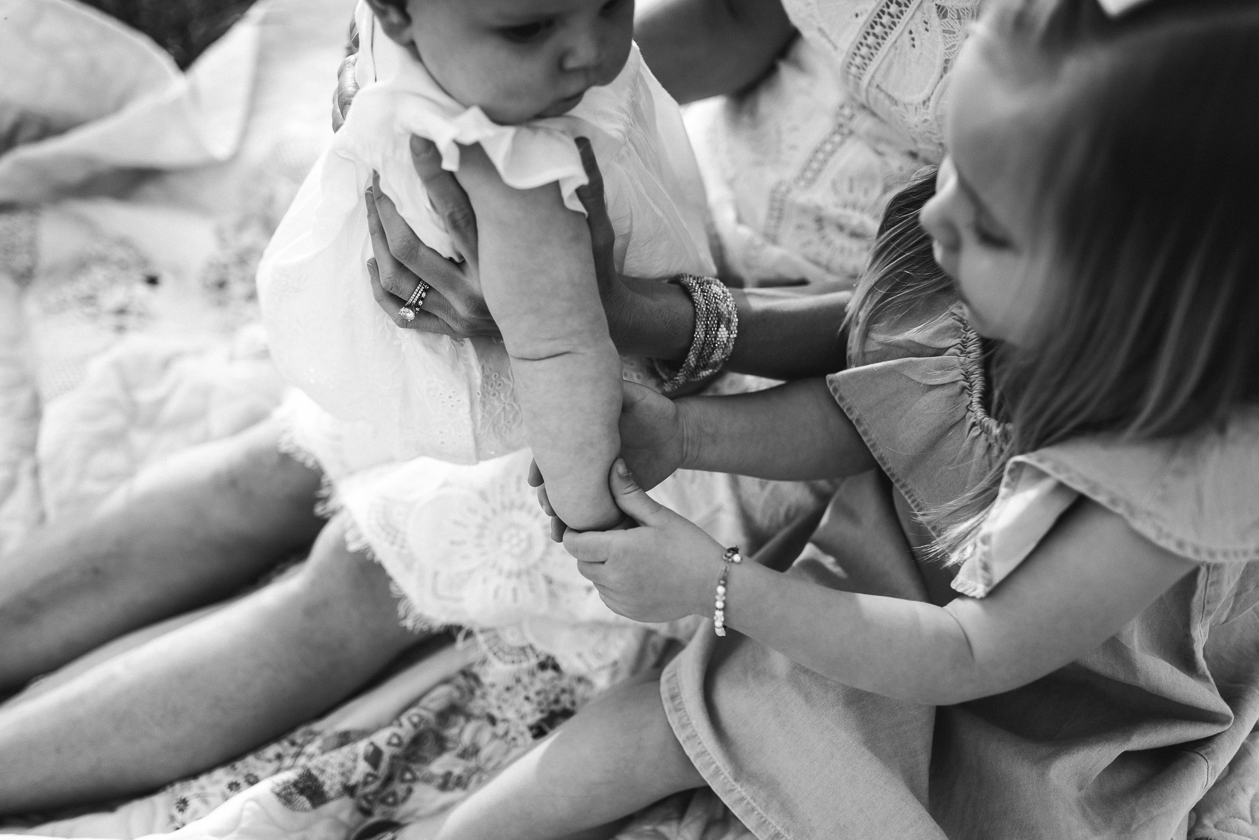toddler holding baby's hand | St. Louis Baby photographer