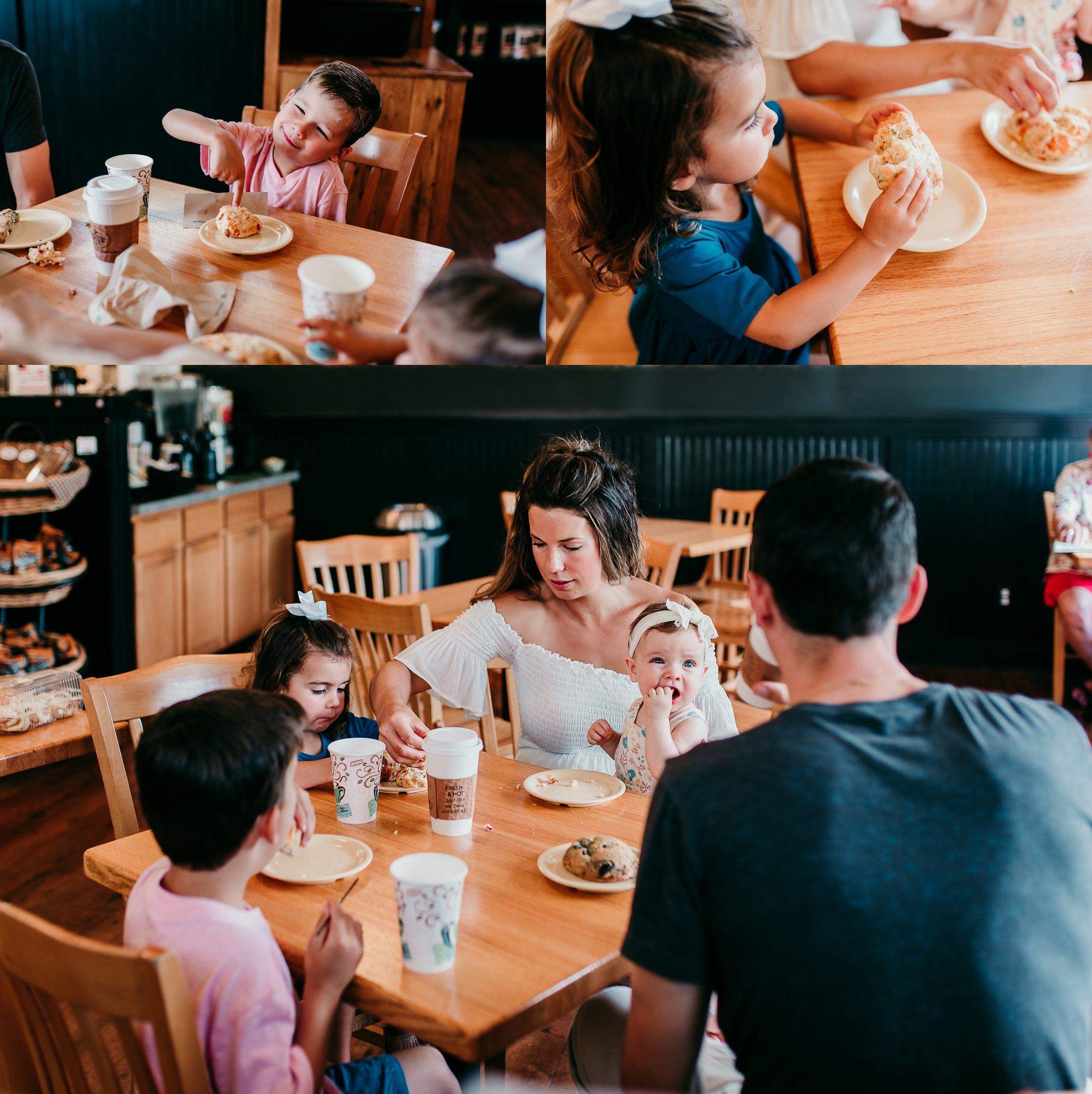 family having breakfast at a bakery together