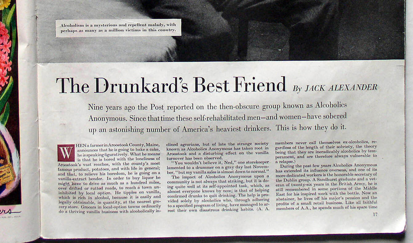 An article from the Saturday Evening Post in the 1950s about the rise of Alcoholics Anonymous (AA).