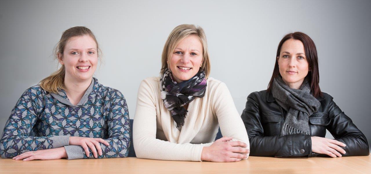 Researchers (from left) Hannah Waddington, Larah van der Meer and Jessica Tupou.