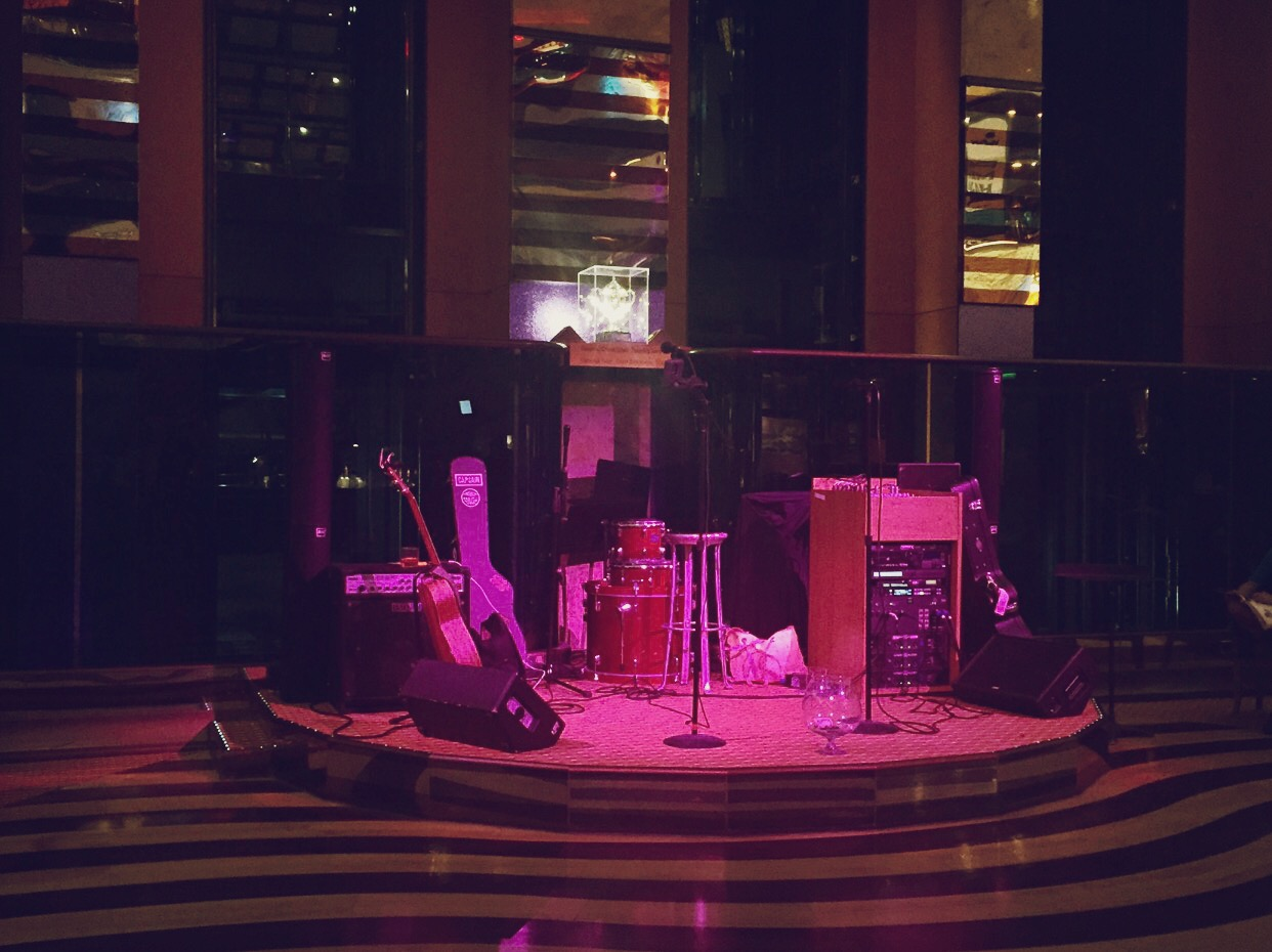 *our main stage! (we played in the Red Frog Pub occasionally, but most of the time we were right here in the main lobby)