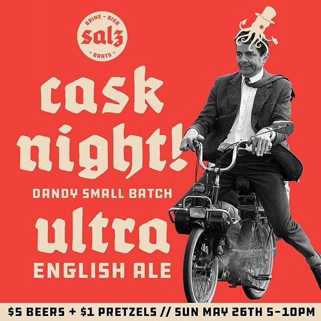 "Fancy a pint this weekend? Well Cheer-io then old chap! We have an ""Ultra English Ale"" cask from the blokes over at @dandyalesyyc ! Beers are just $5 all night & pretzels are a buck. Kicks off at 5pm this Sunday!"
