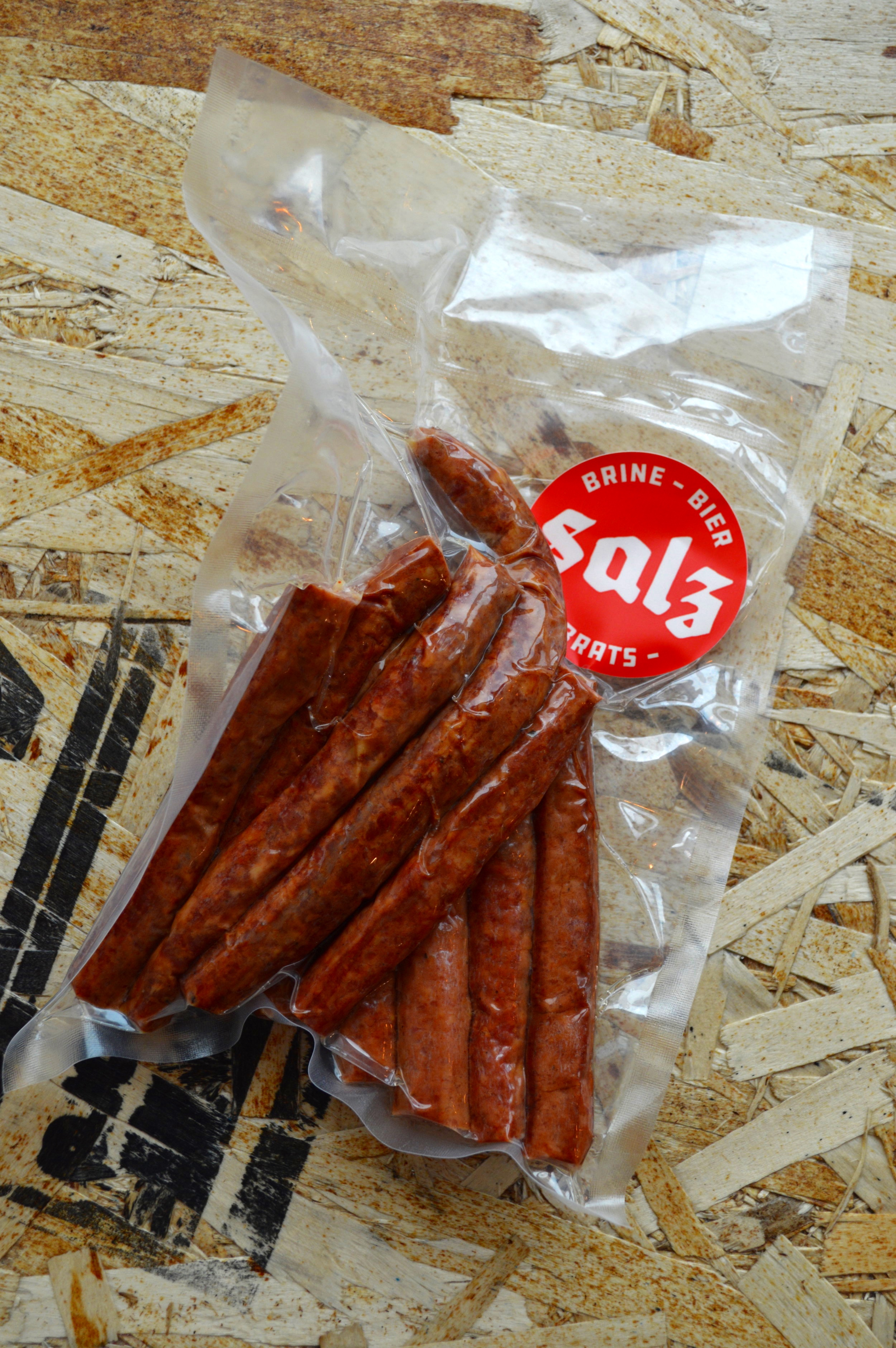 Salz Pepperoni Sticks merchandise pack.