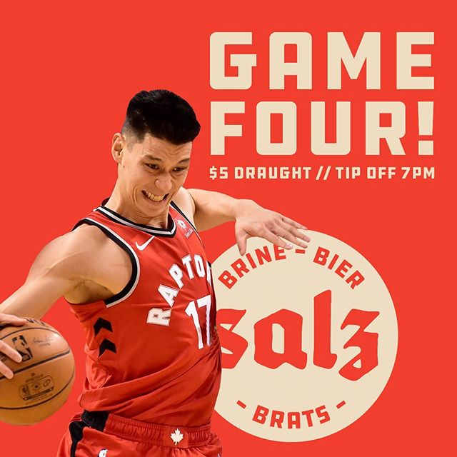 FACTS- Raps are undefeated when Lin plays in the finals. MORE FACTS- Salz is the absolute best place to watch the game in the city, sound on full blast and ice cold adult pops are just 5 loonies. 7pm tip-off, see you tonight.