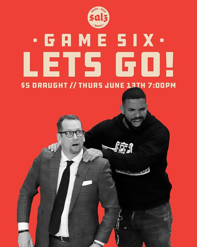 WE GOT THIS! Tomorrow night join us for game six of this wild series. We'll have the adult pops flowin' for just $5 and @fourbills will be giving out free massages all night. Tip off at 7pm!