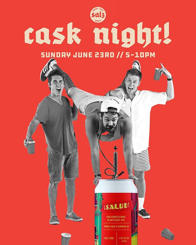 BIG CASK NIGHT THIS SUNDAY! We have a cask of @sycbrewingco 's brand new ¡SALUD! fermented wheat ale! They put a double dose of delicious Sabro hops in this one for us, expect flavour/aroma of piña colada 🍹 and orange slices 🍊. Kicks off at 5pm!