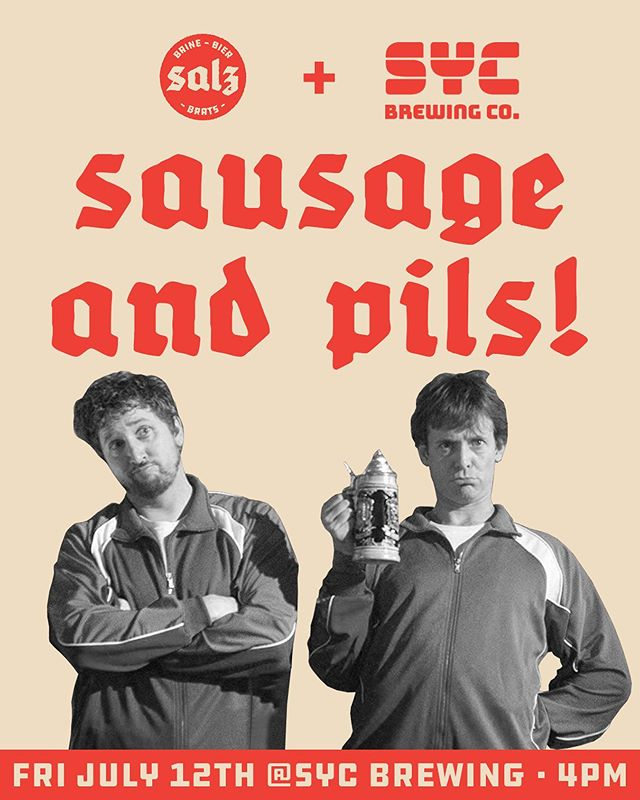 THIS FRIDAY- we'll be on location at @sycbrewingco serving up brats n' buns for their brand new PILSNER RELEASE! This will be your LAST CHANCE to get Salz for a hot minute as we look for a new spot. Tickets are just $10 and include a beer and brat, they're going fast- so hop on it. LINK IN BIO!