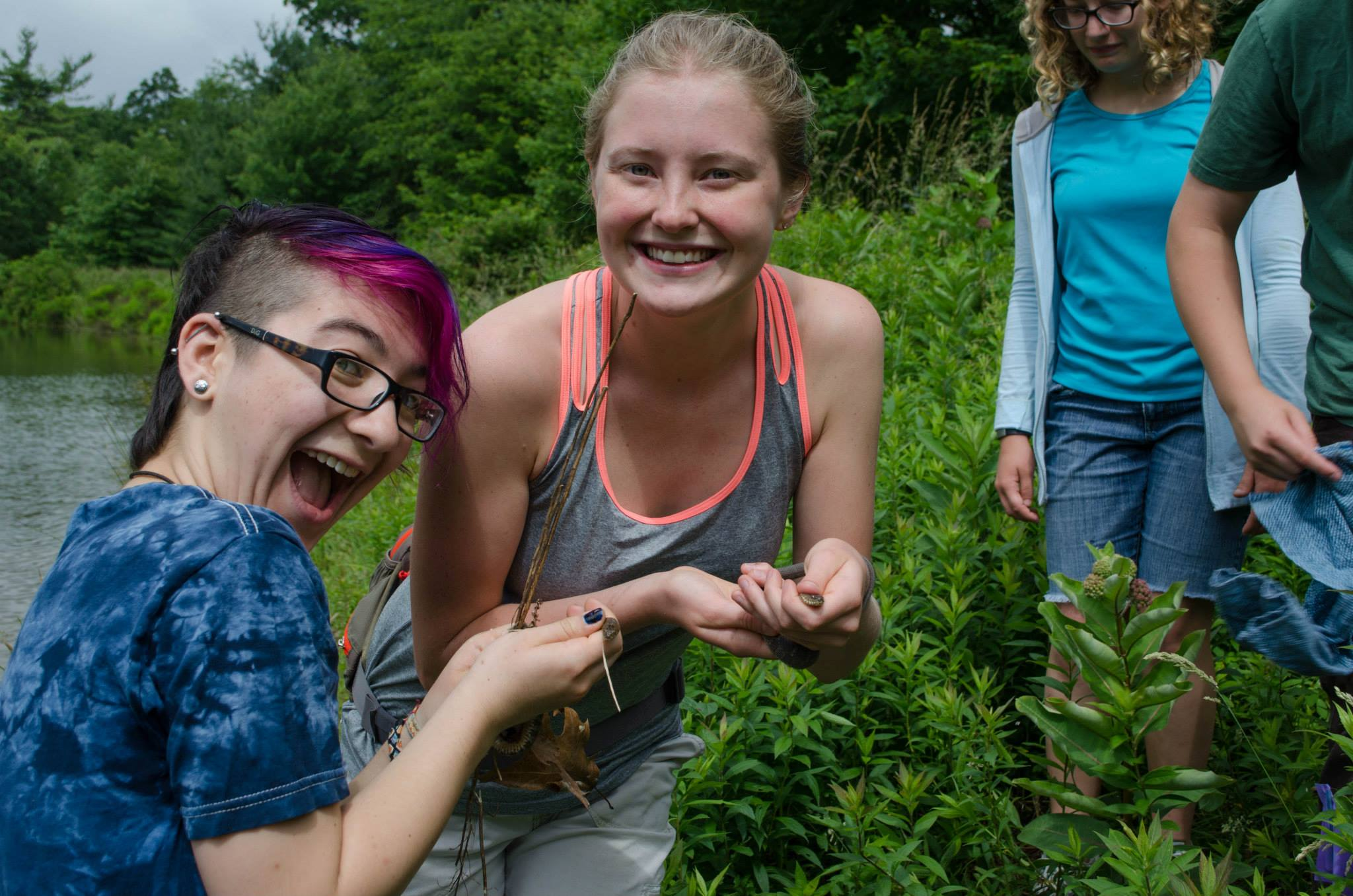 Sarah and Augie catching snakes