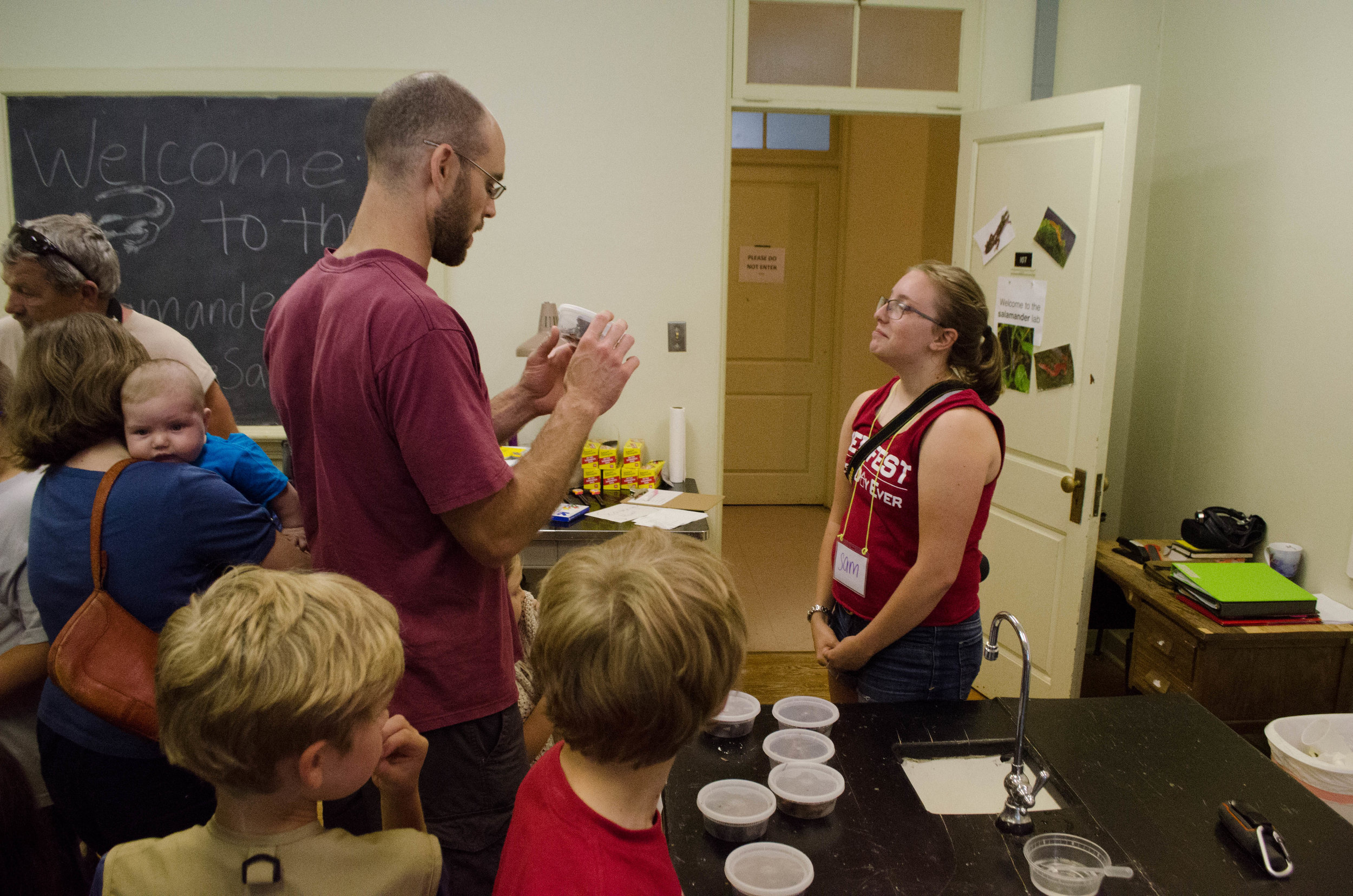 Sam teaching about salamanders at MLBS open house event