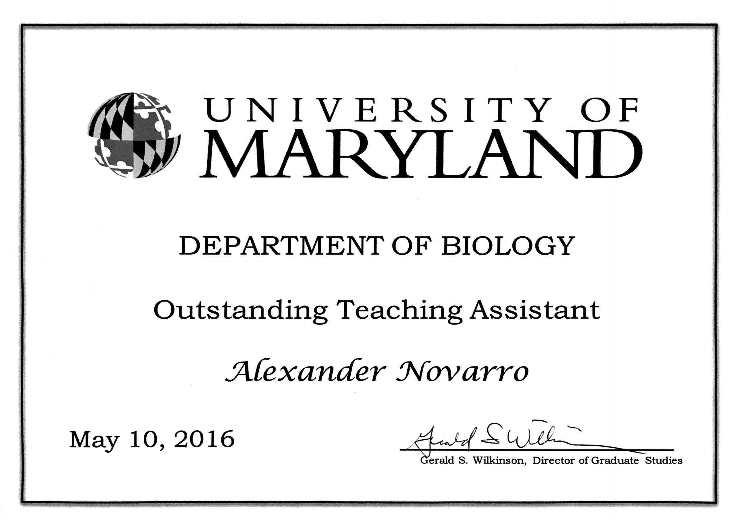 Teaching Assistant Award for Anatomy & Physiology I Lab and Conservation Biology Lab