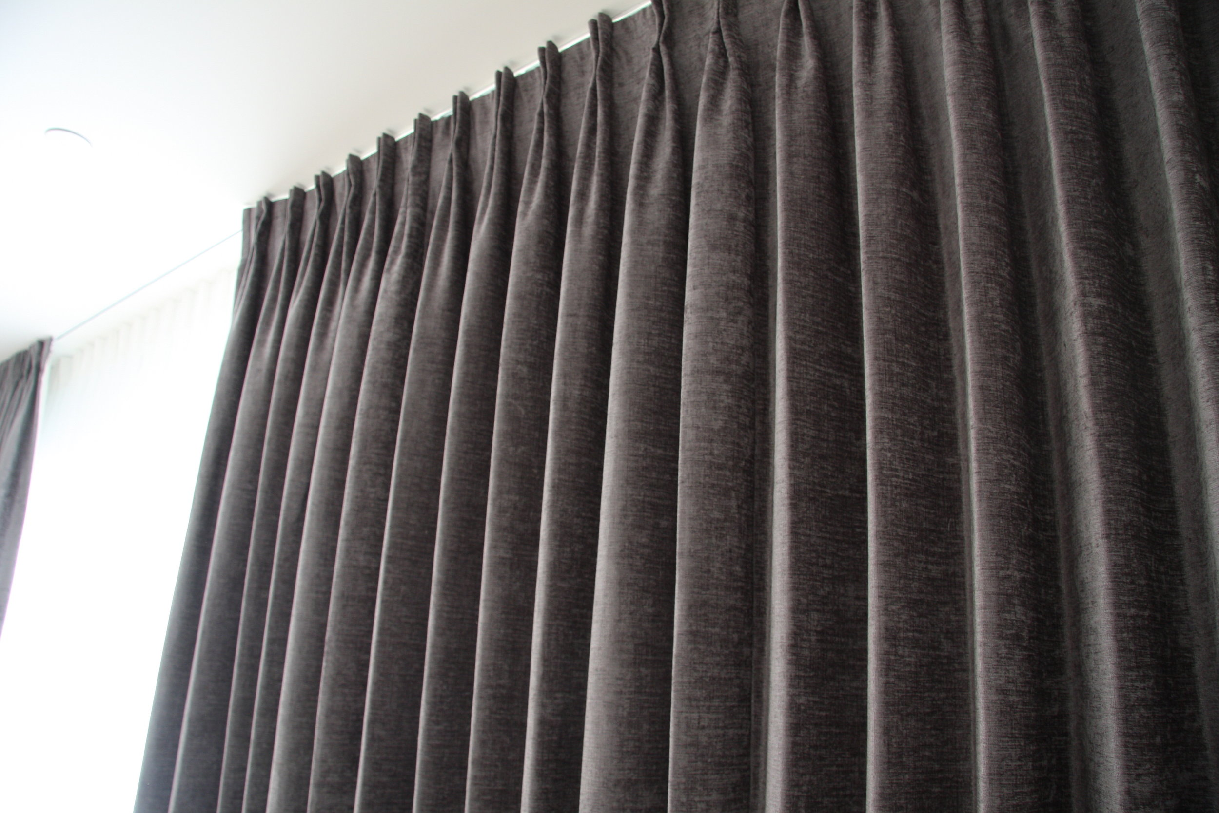 Custom Pinch Pleat drapes in chenile velvet fabric