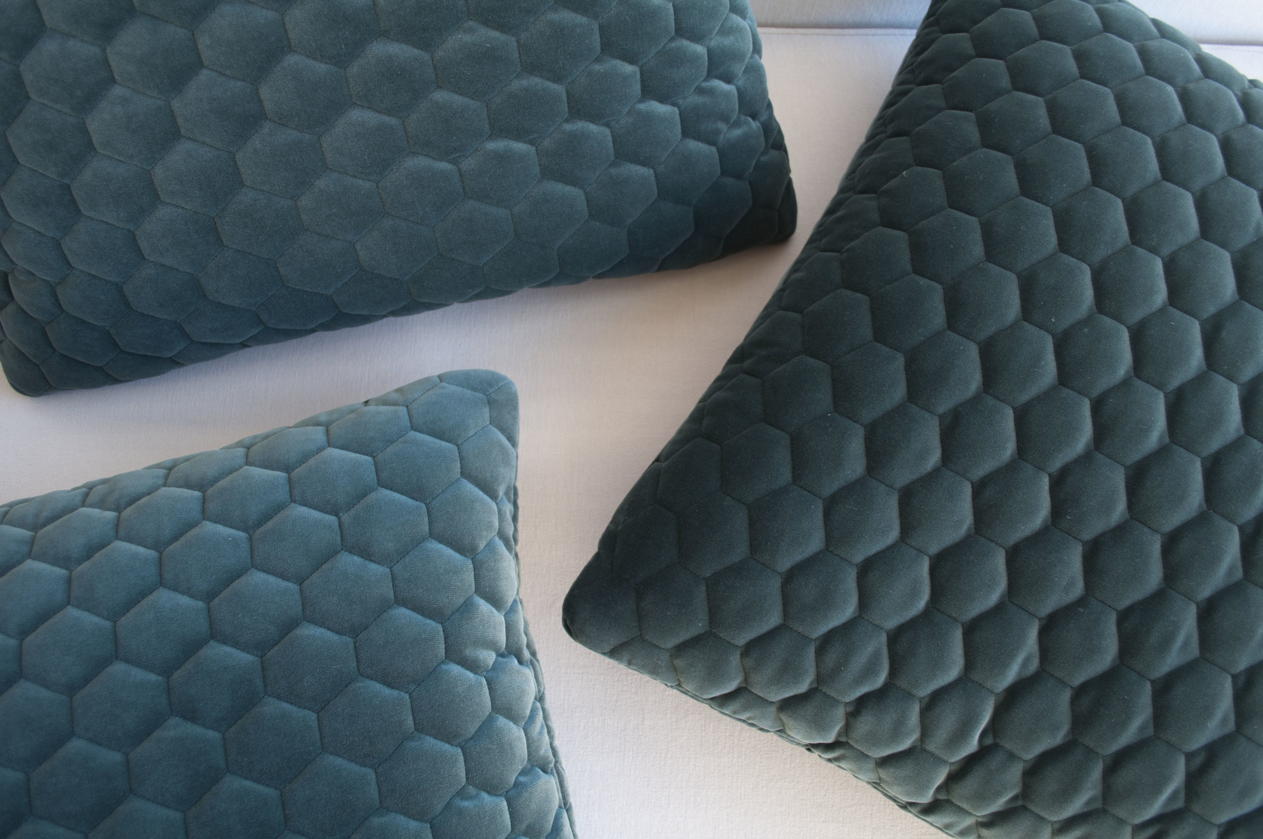Euro toss pillows featuring Kirkby Design's Cloud fabric, in Evergreen.