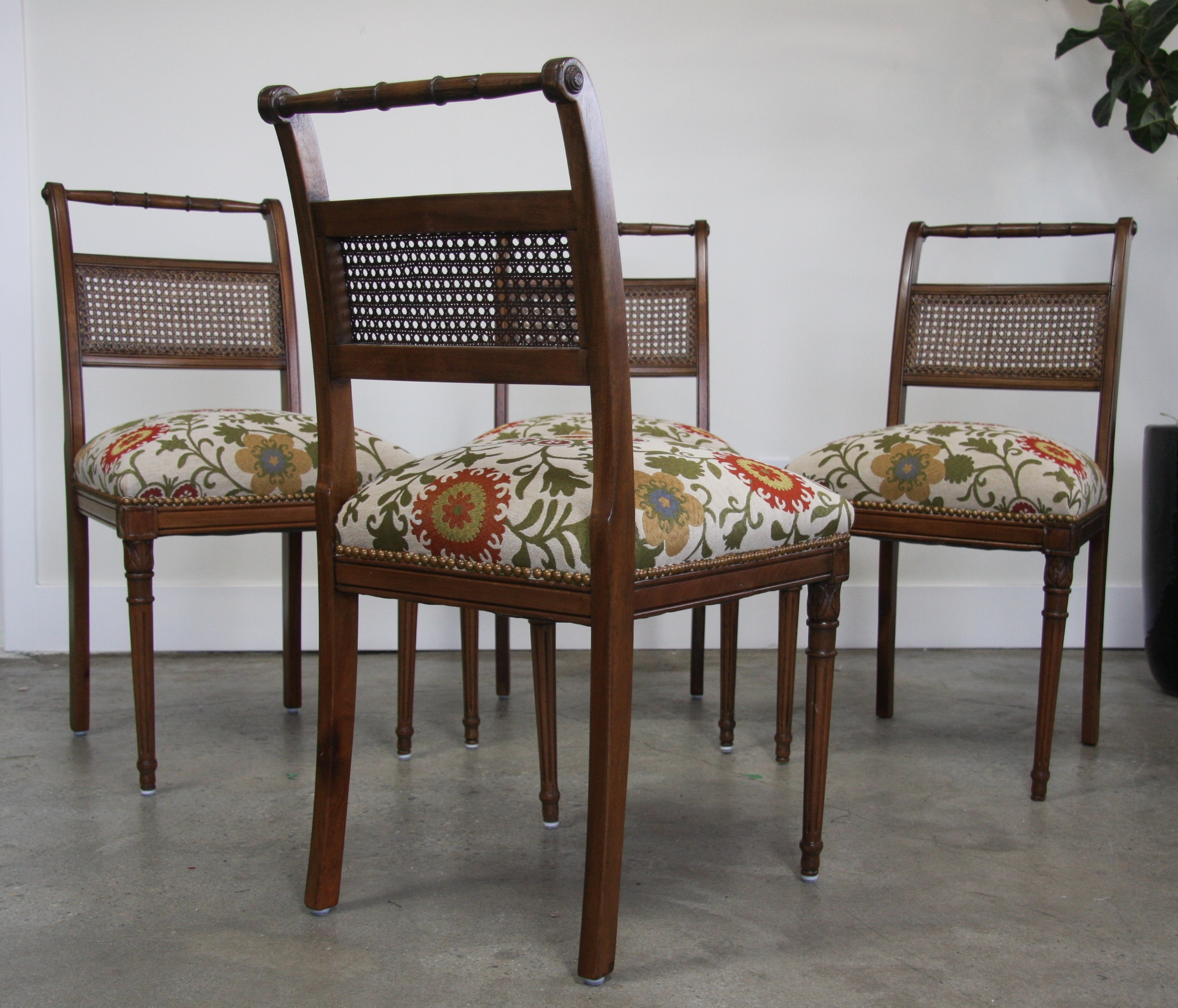 Vintage dining chair restoration. Upholstered in a designer fabric