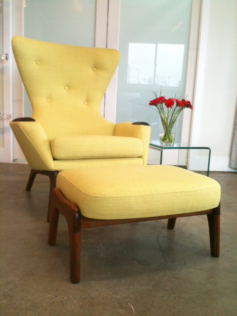 Mid Century Modern antique restoration, with button tufting detail on inside back. Chartreuse tweed fabric.