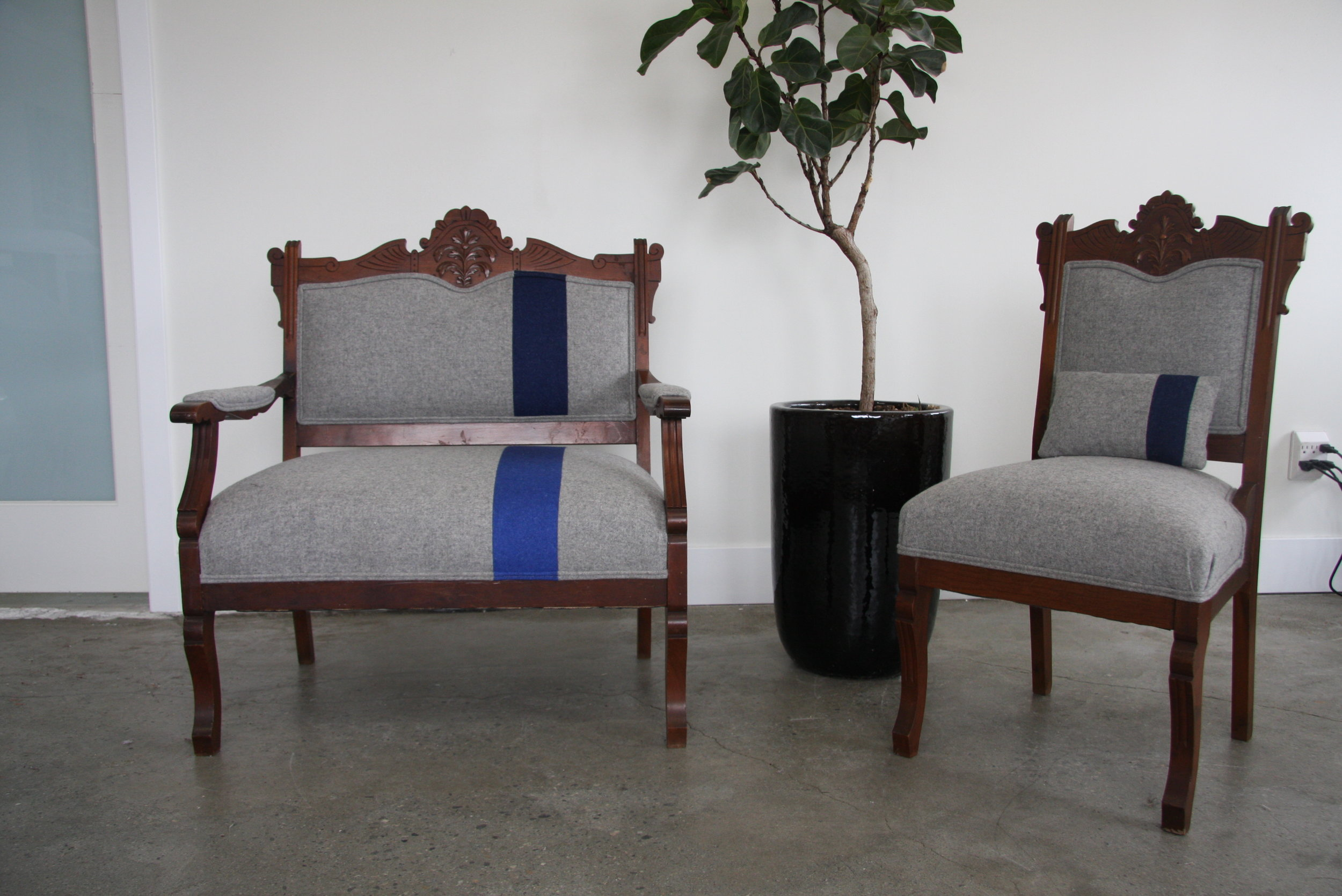 Antique Eastlake set upholstered in a modern wool. Note the ombre stripe!