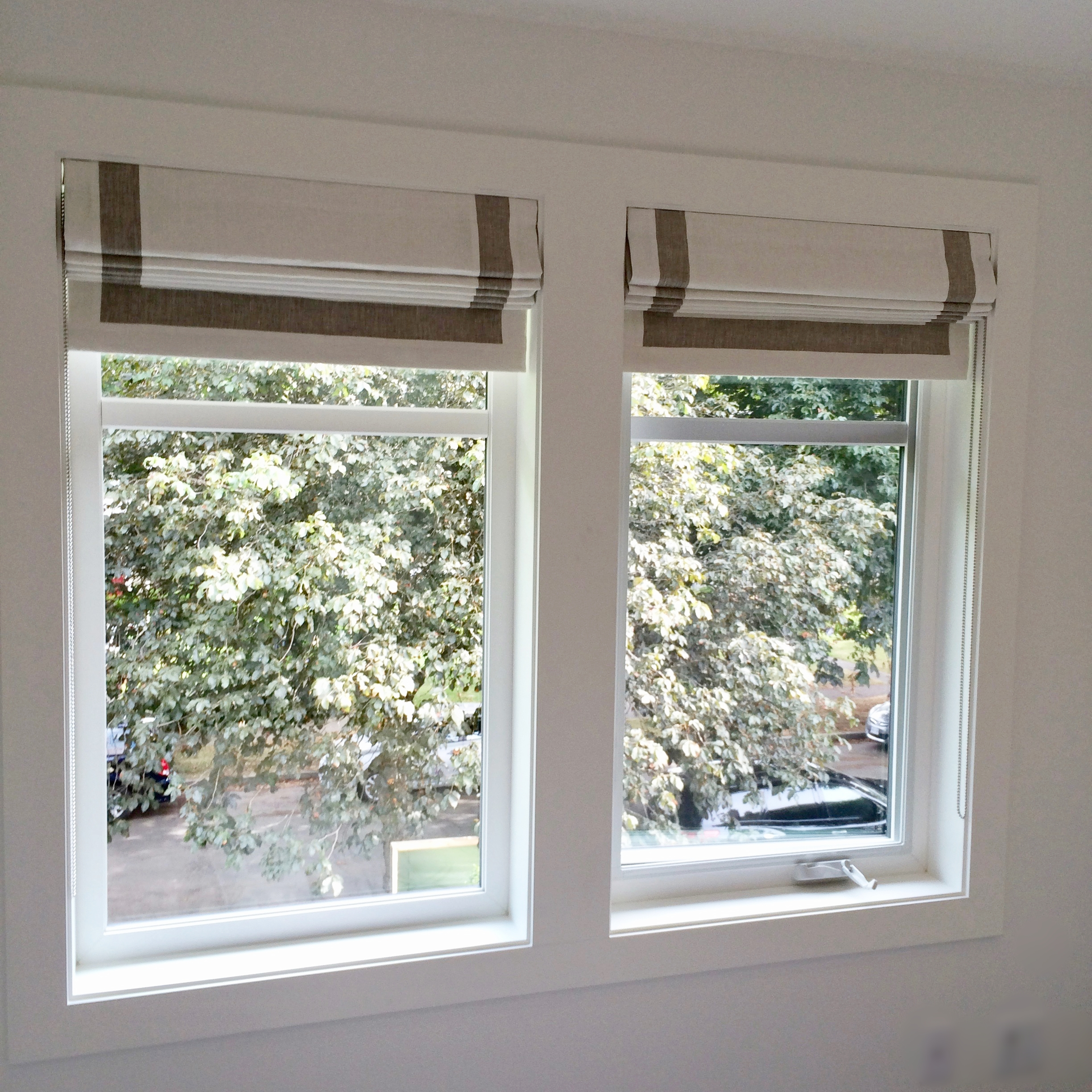 "Custom Roman Shades with a 2"" banded border"