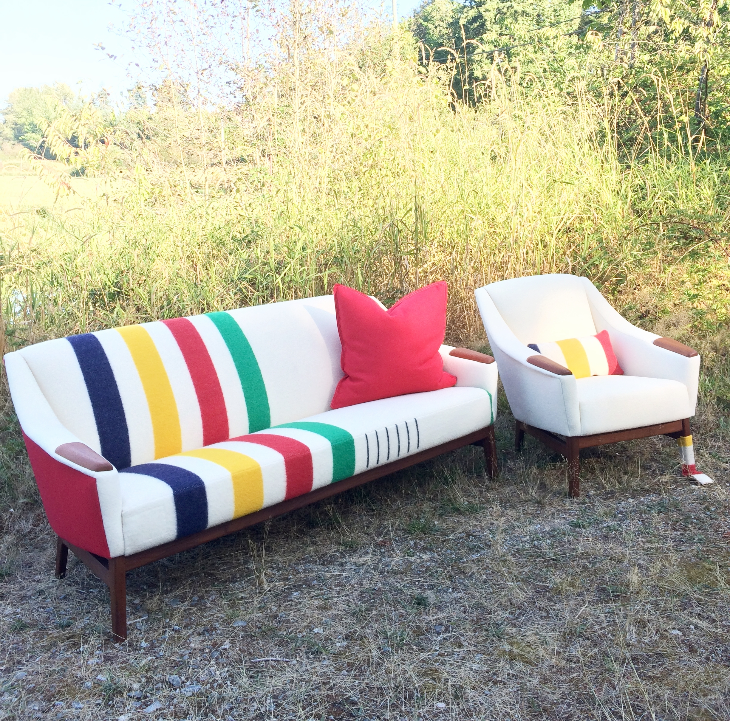Vintage Hudson's Bay blanket upholstered on a vintage sofa set for Mid Century Modern Home.