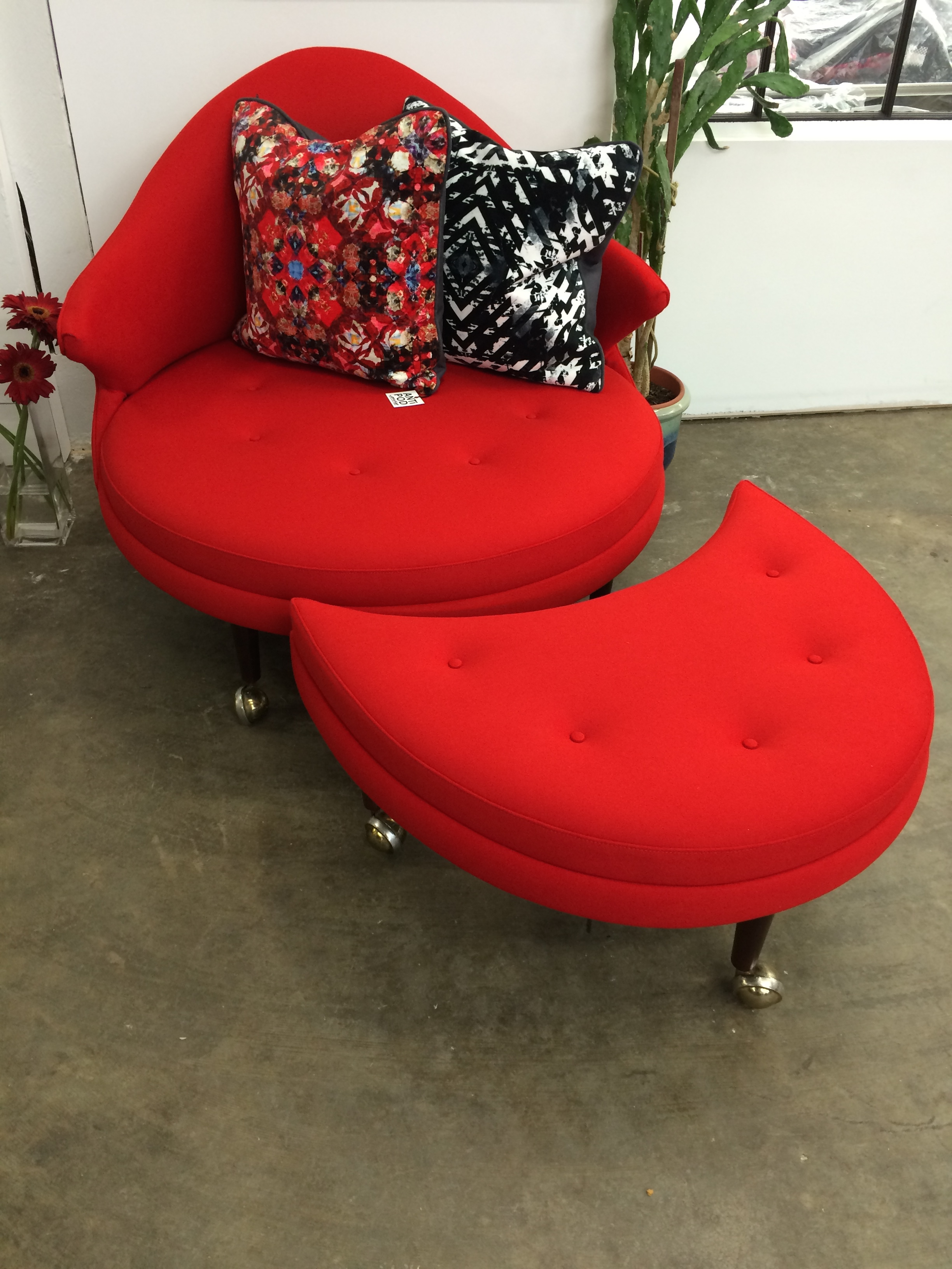 Classic mid century chair in red wool for MCM Home