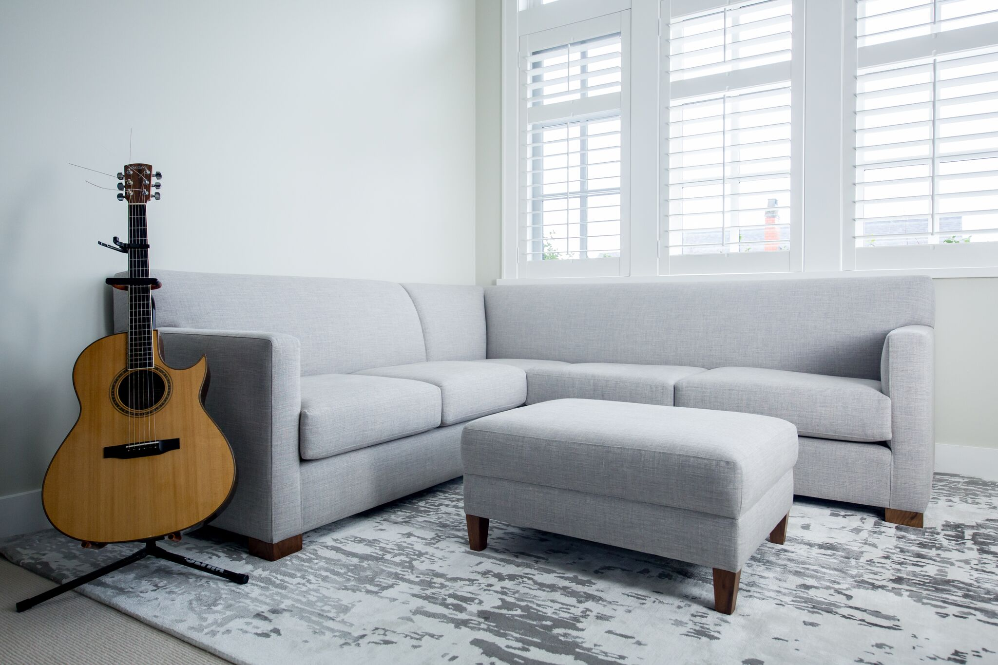 Bespoke sectional, specially designed to fit into a tiny apartment.