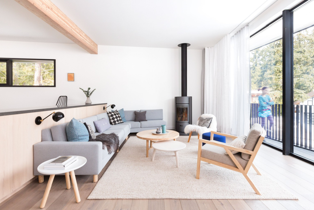 Bespoke angular sectional for The White Lodge home by Measured Architecture Inc., photographed by Ema Peter Photography