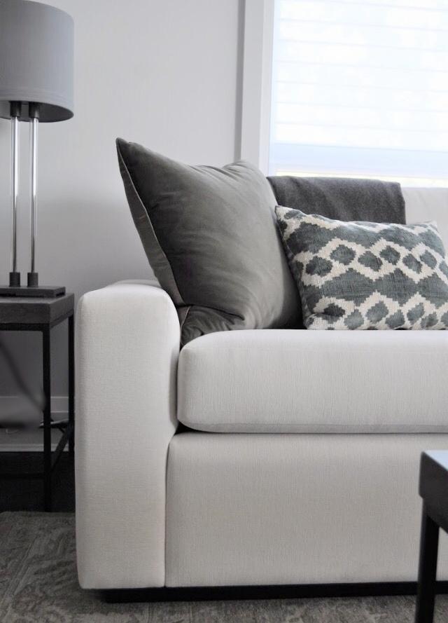 Whistler sofa manufactured for designer Deborah Wardell in washable Romo fabric