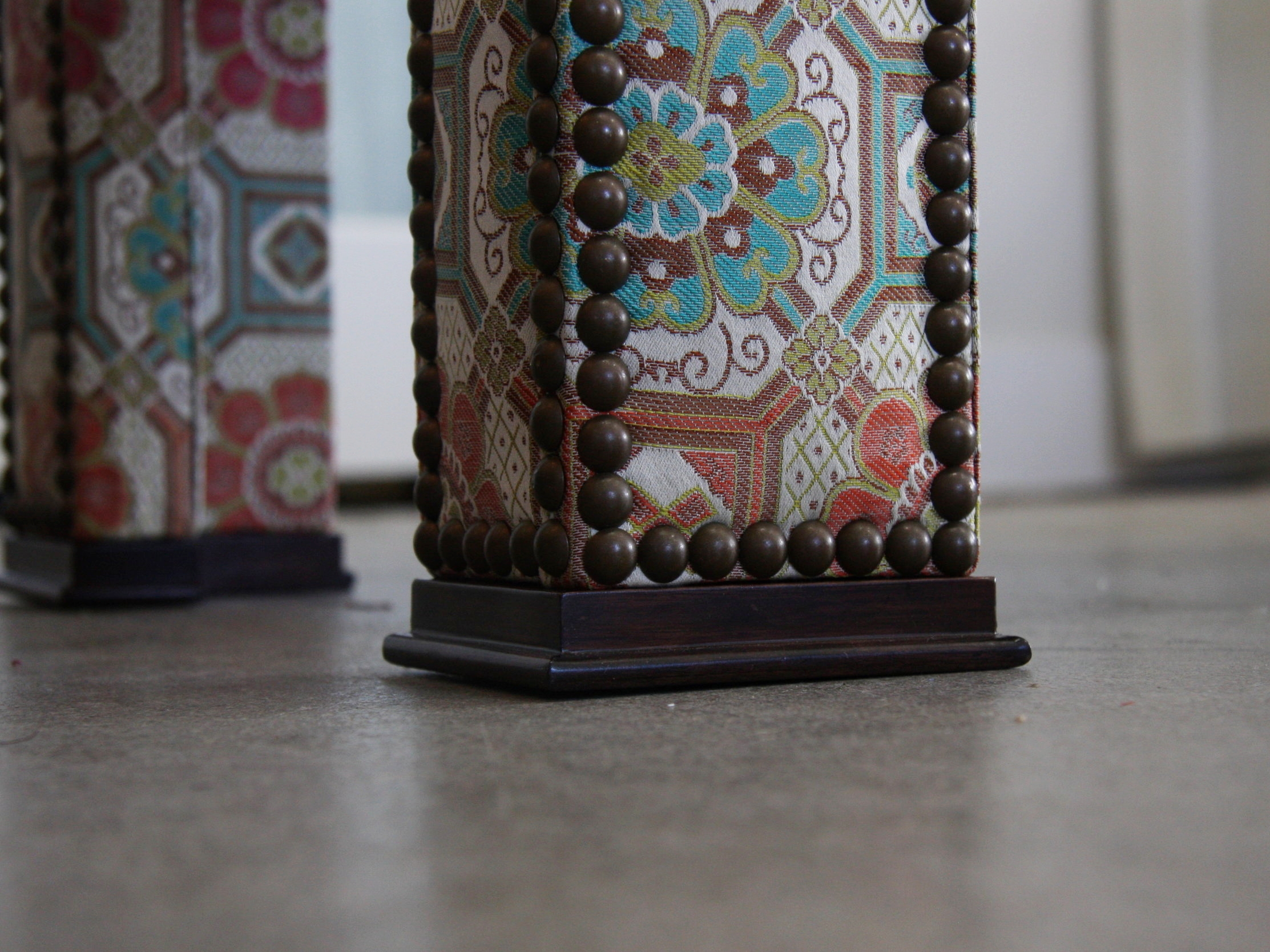 moroccan ottoman , custom built with designer fabric and individual tack trim