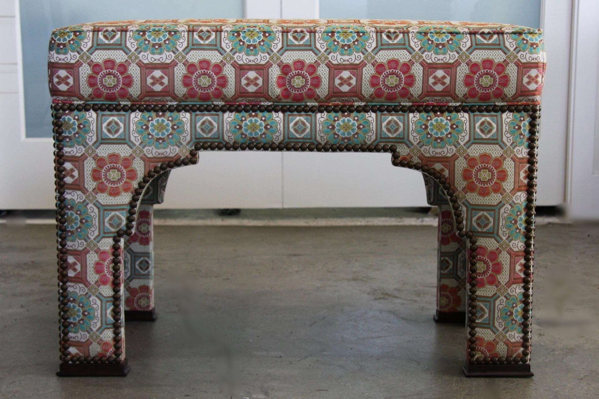 custom upholstered bench for a custom home in White Rock