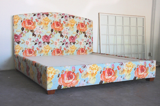 solid deck upholstered bed in floral printed cotton