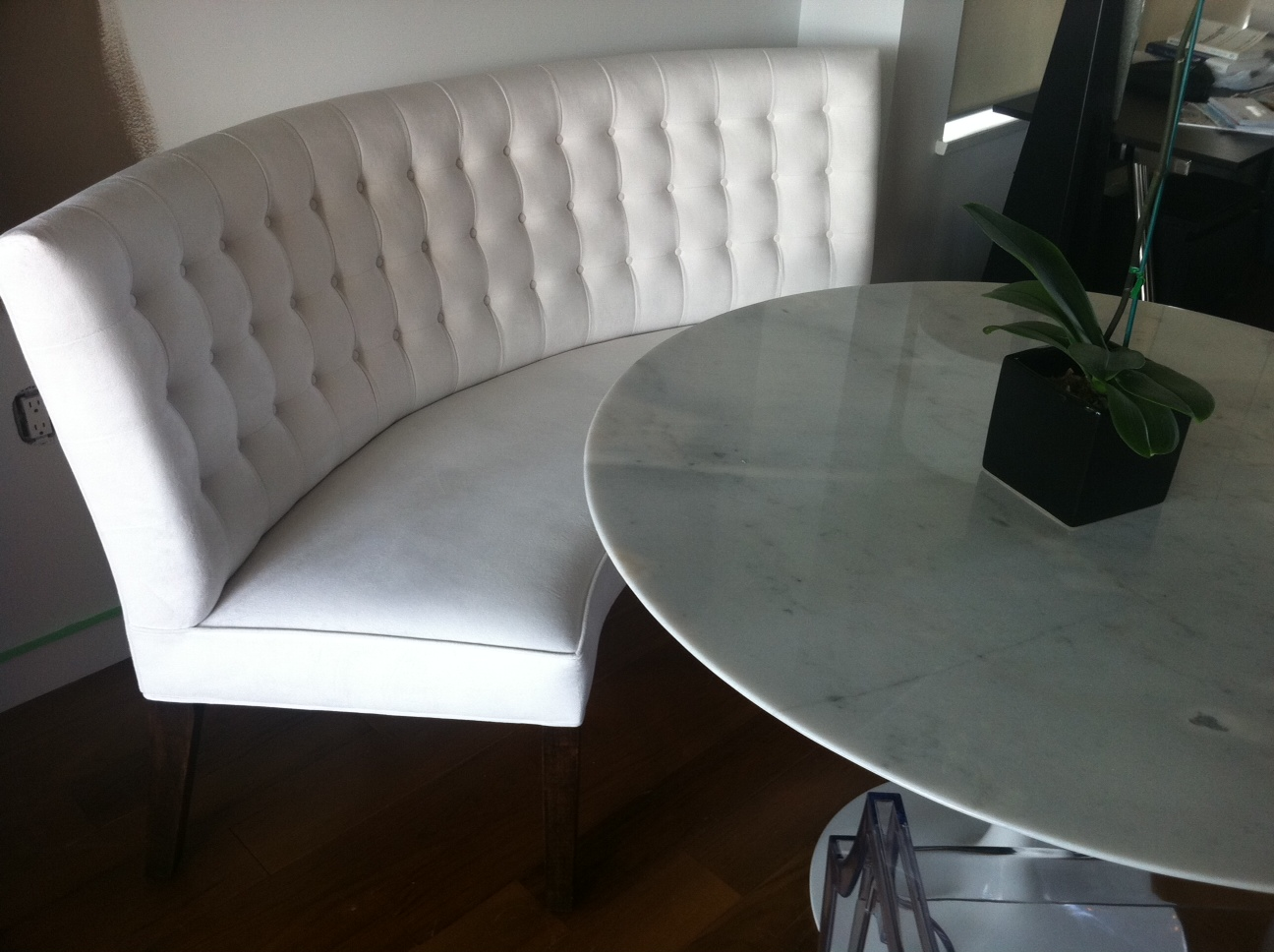 bespoke / custom banquette with contemporary tufted back