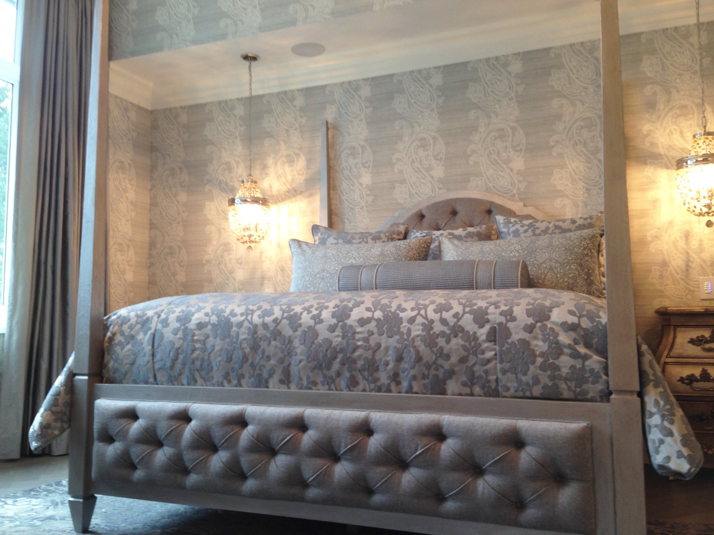 Silk Drapes, custom bedding, toss pillows and bed Upholstery