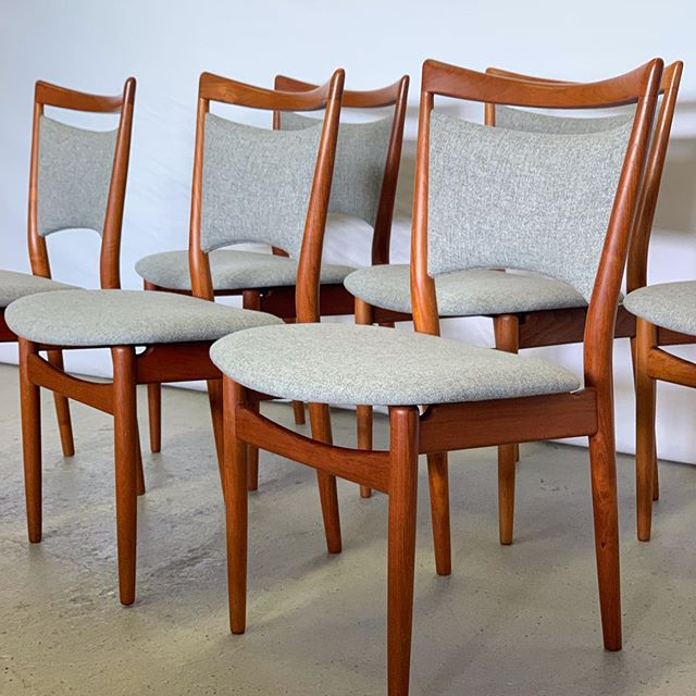 Here is a little Danish eye candy for you!  Since starting prototype work over @ffabb_home #ffabblab we have had limited resources for reupholstered projects. These beauties however made the passion project list.  #midcenturymodern #customupholstery #midcenturymodernhome