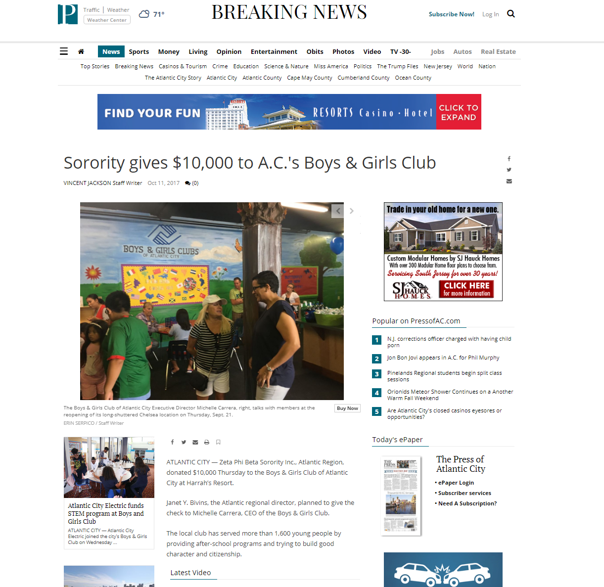 Click photo to visit the Press of Atlantic City's article.