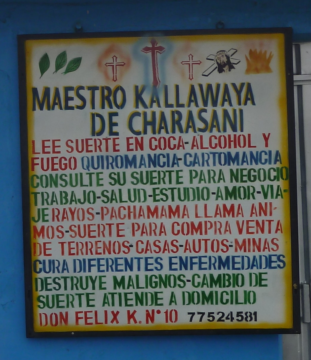 "The services offered by the Shamans - First the ""Have your fate read from Coca Leaves, Alcohol or Fire"""